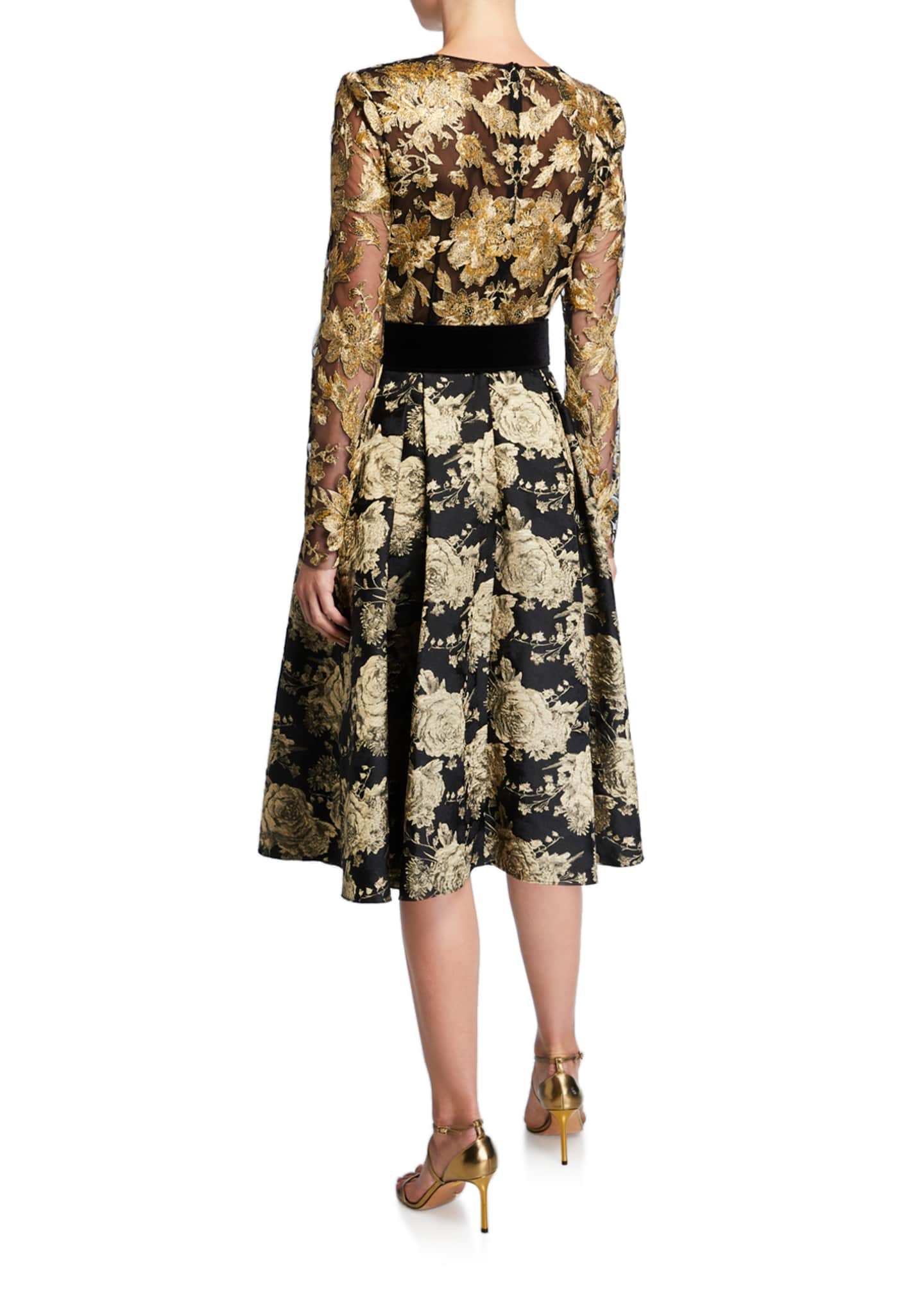Image 2 of 2: V-Neck Long-Sleeve Floral & Lace Belted Cocktail Dress