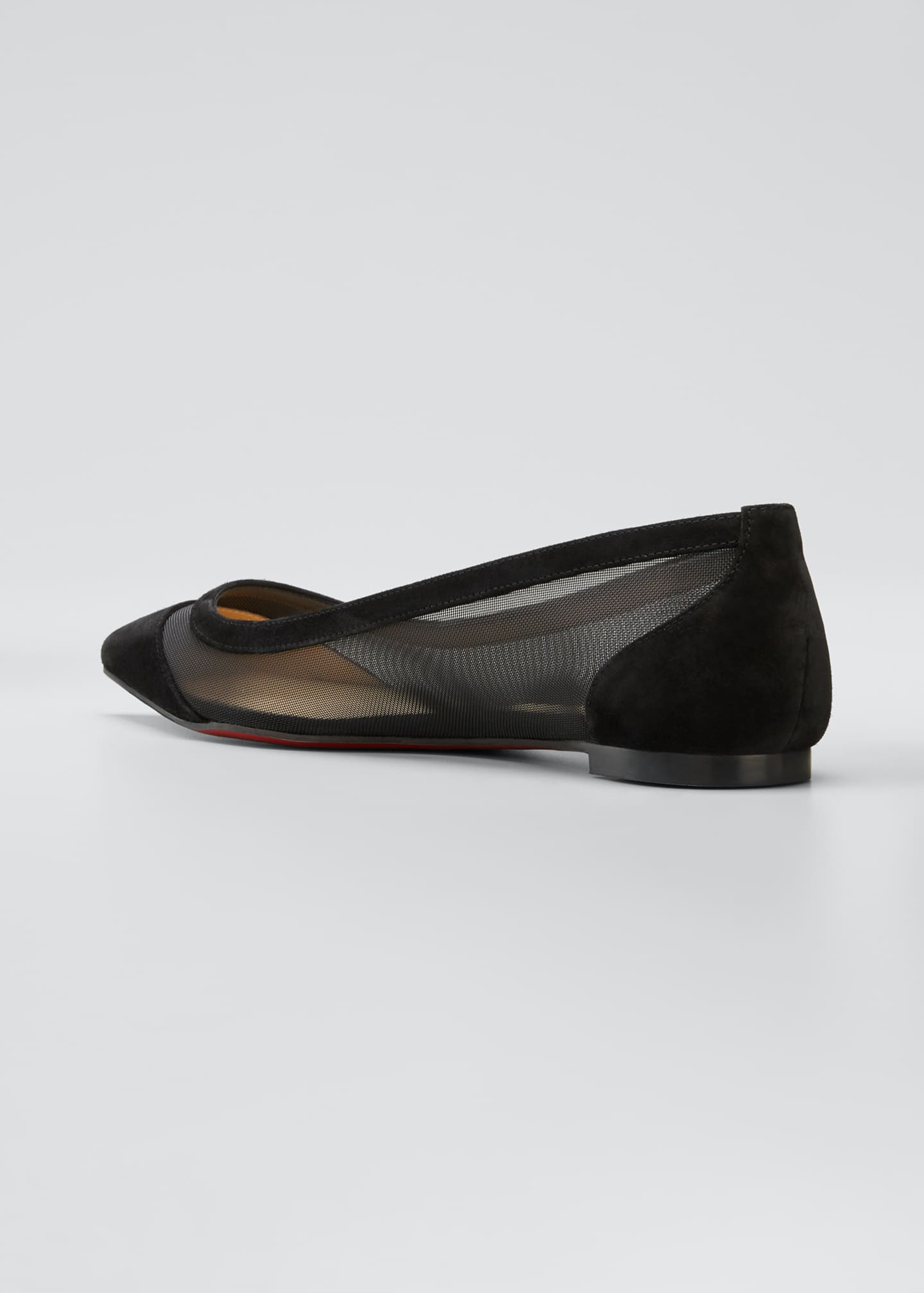 Image 4 of 5: Galativi Mesh Pointed Red Sole Flats