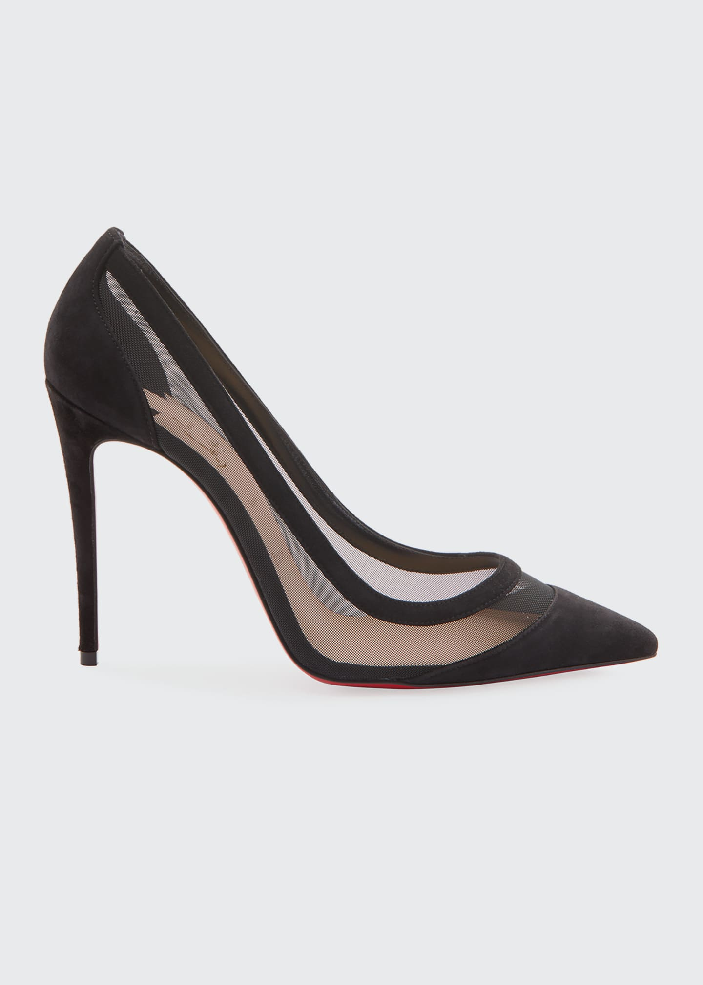 Image 1 of 2: Galativi Suede and Mesh Red Sole Pumps
