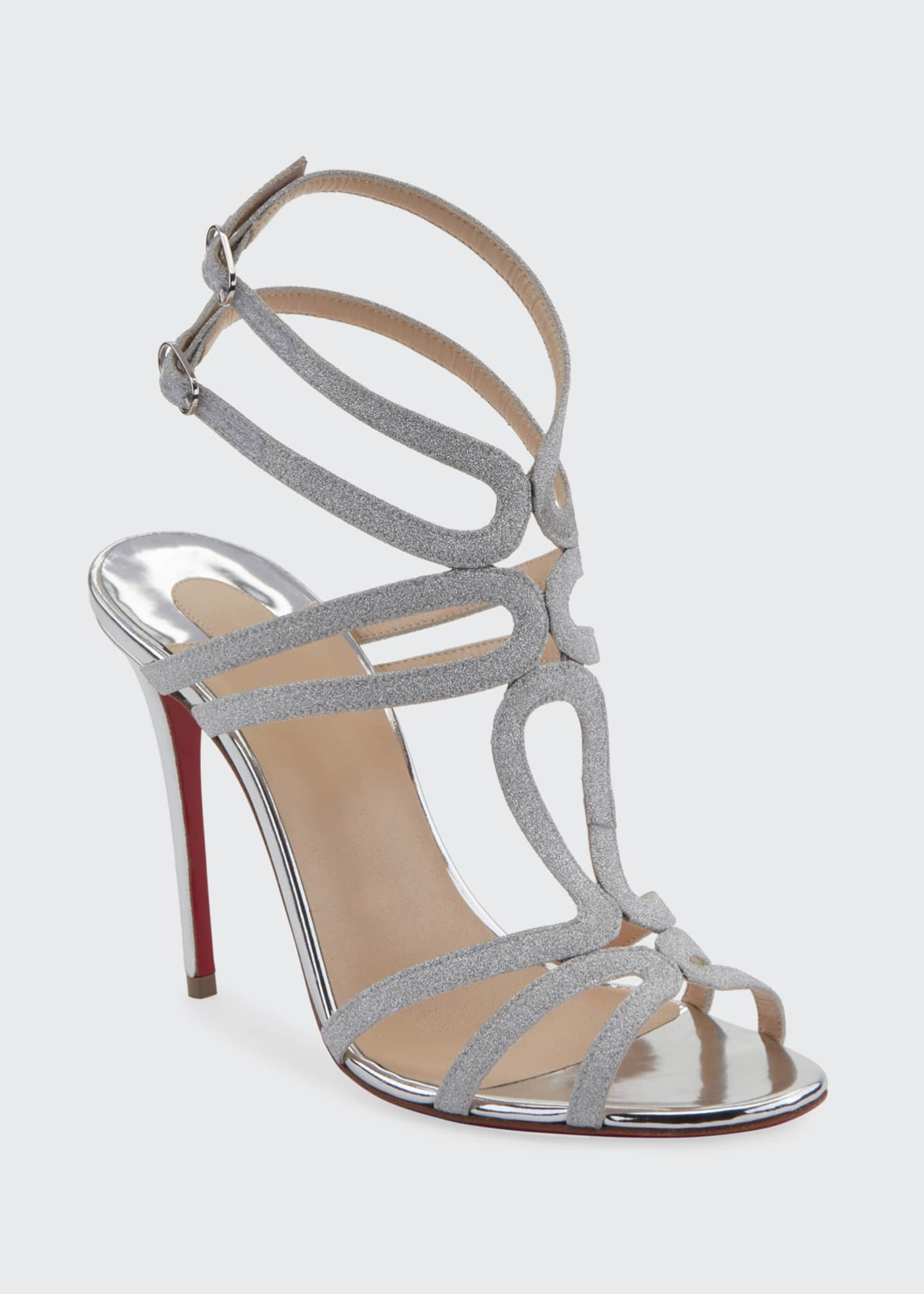 Image 2 of 2: Renee Glitter Red Sole Sandals, Silver