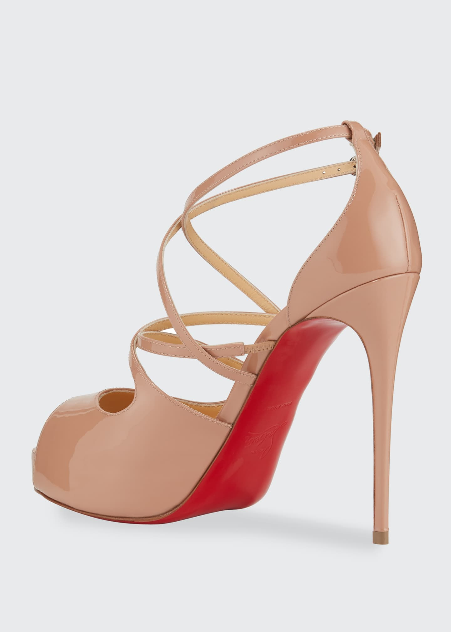 Image 3 of 4: Holly Peep-Toe Strappy Red Sole Sandals