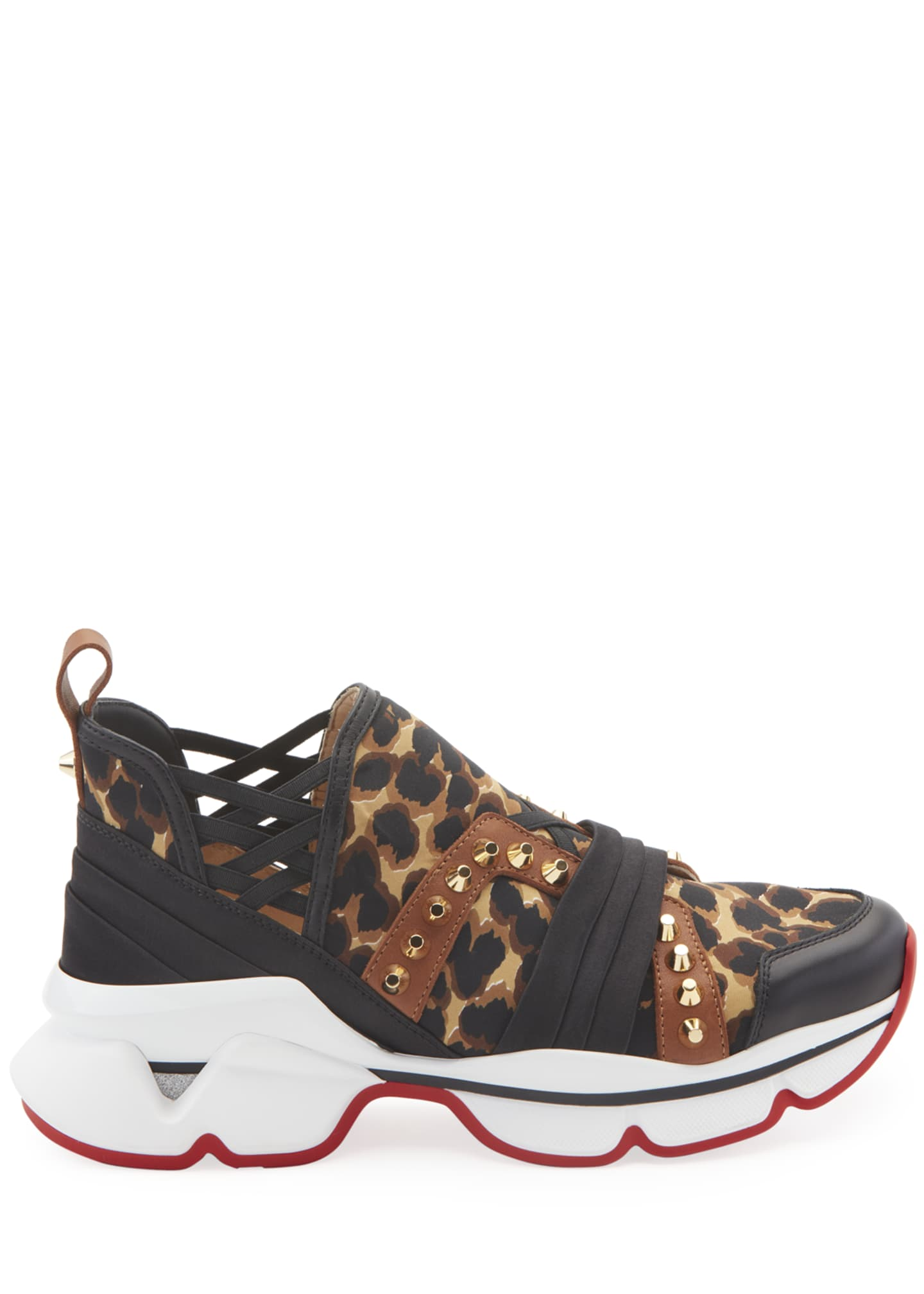 Image 2 of 4: 123 Run Leopard Red Sole Sneakers
