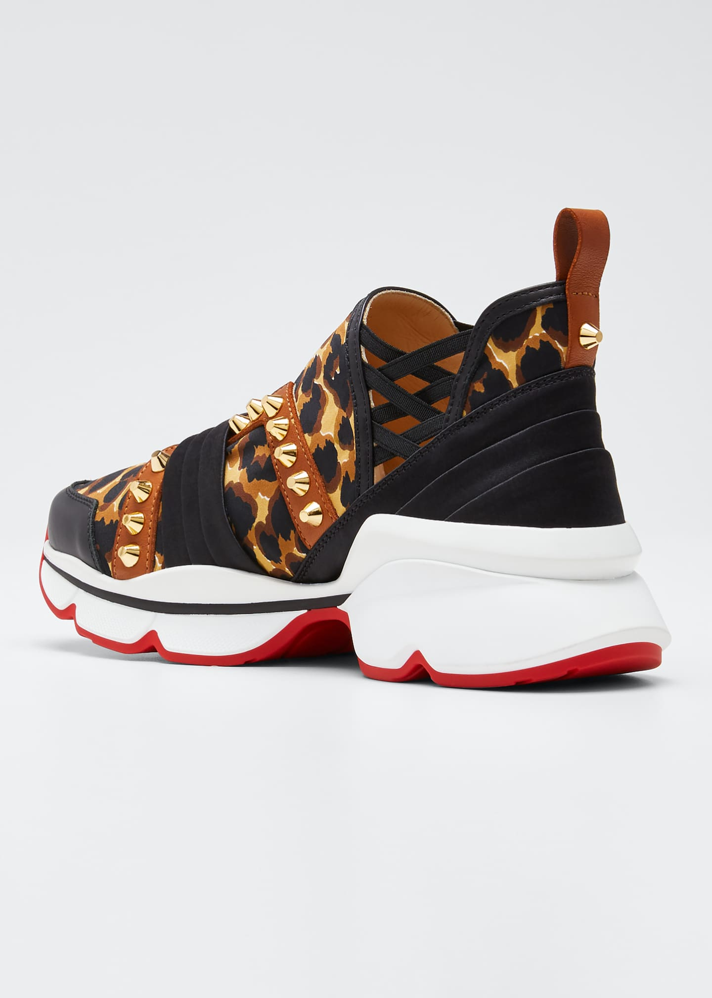 Image 3 of 4: 123 Run Leopard Red Sole Sneakers