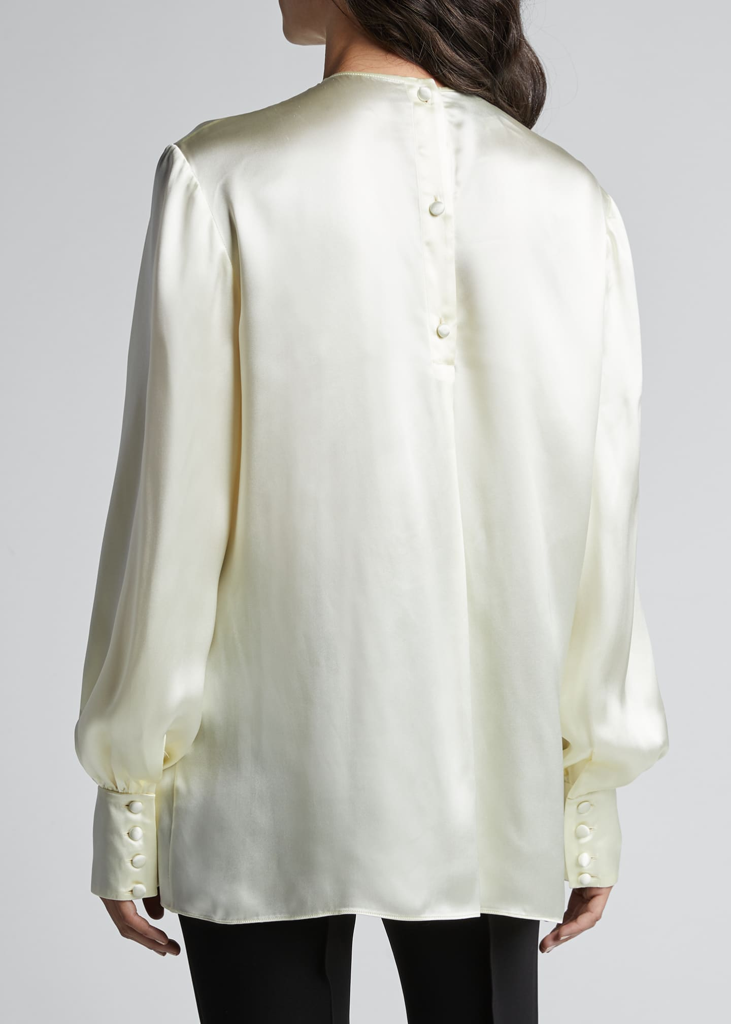 Image 2 of 5: Long-Sleeve Satin Blouse With Velvet Bow-Tie