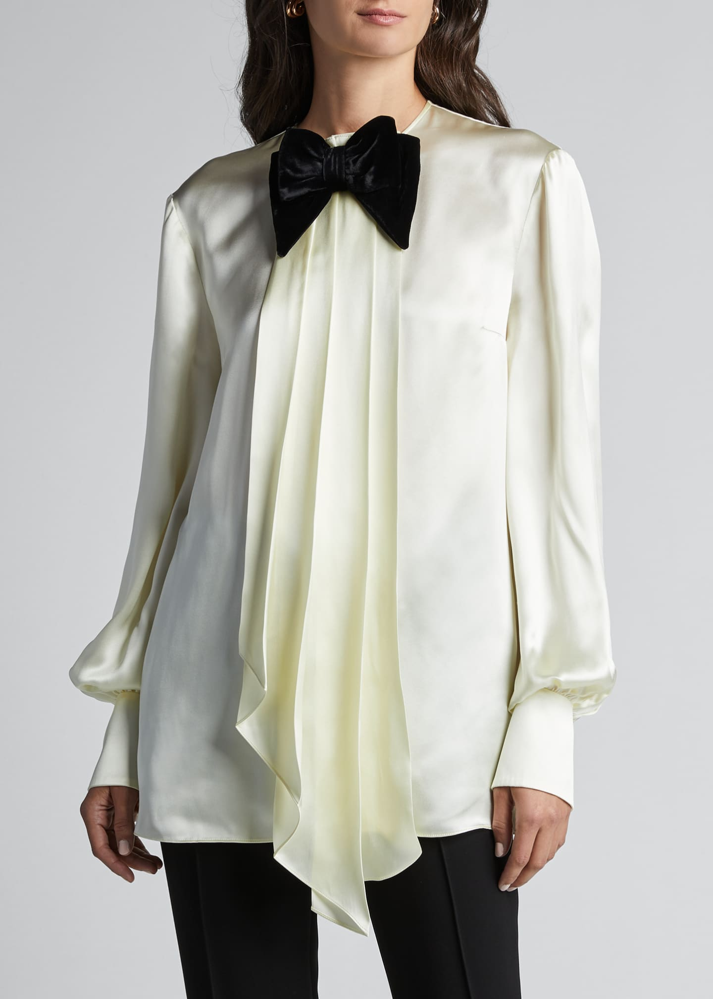 Image 3 of 5: Long-Sleeve Satin Blouse With Velvet Bow-Tie