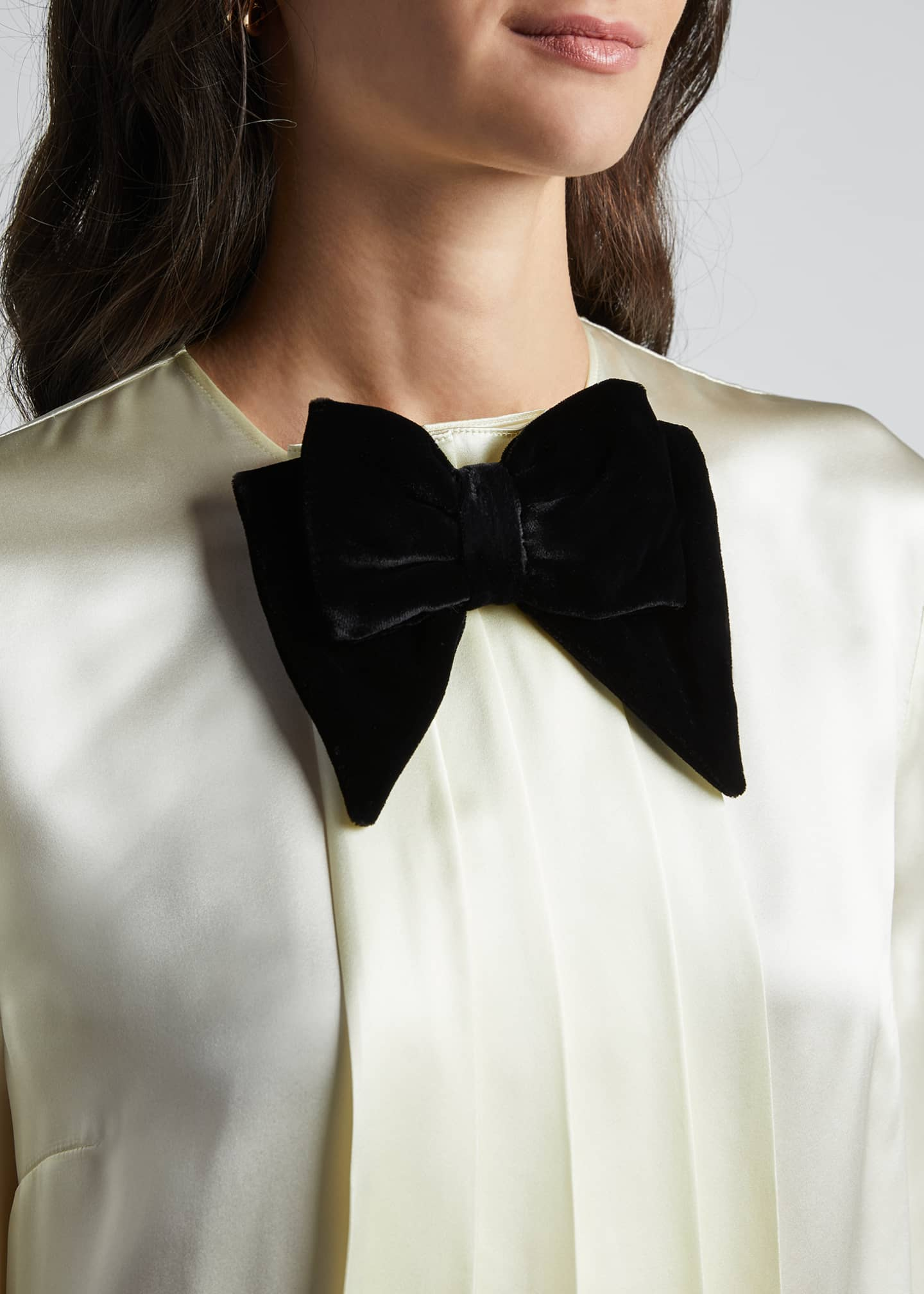Image 4 of 5: Long-Sleeve Satin Blouse With Velvet Bow-Tie