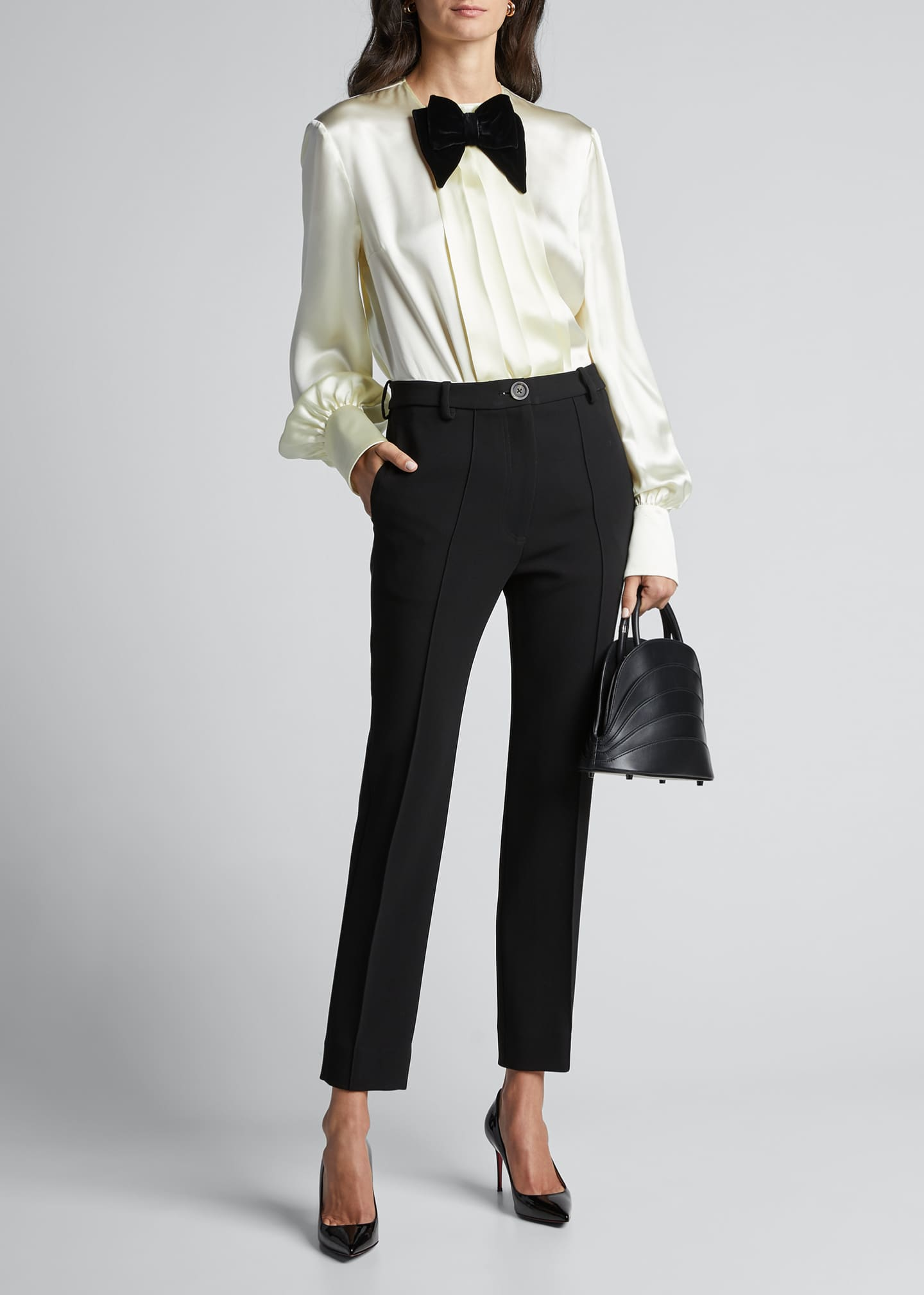 Image 1 of 5: Long-Sleeve Satin Blouse With Velvet Bow-Tie