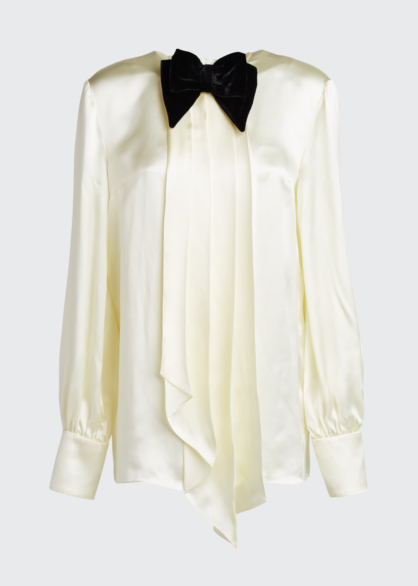 Image 5 of 5: Long-Sleeve Satin Blouse With Velvet Bow-Tie