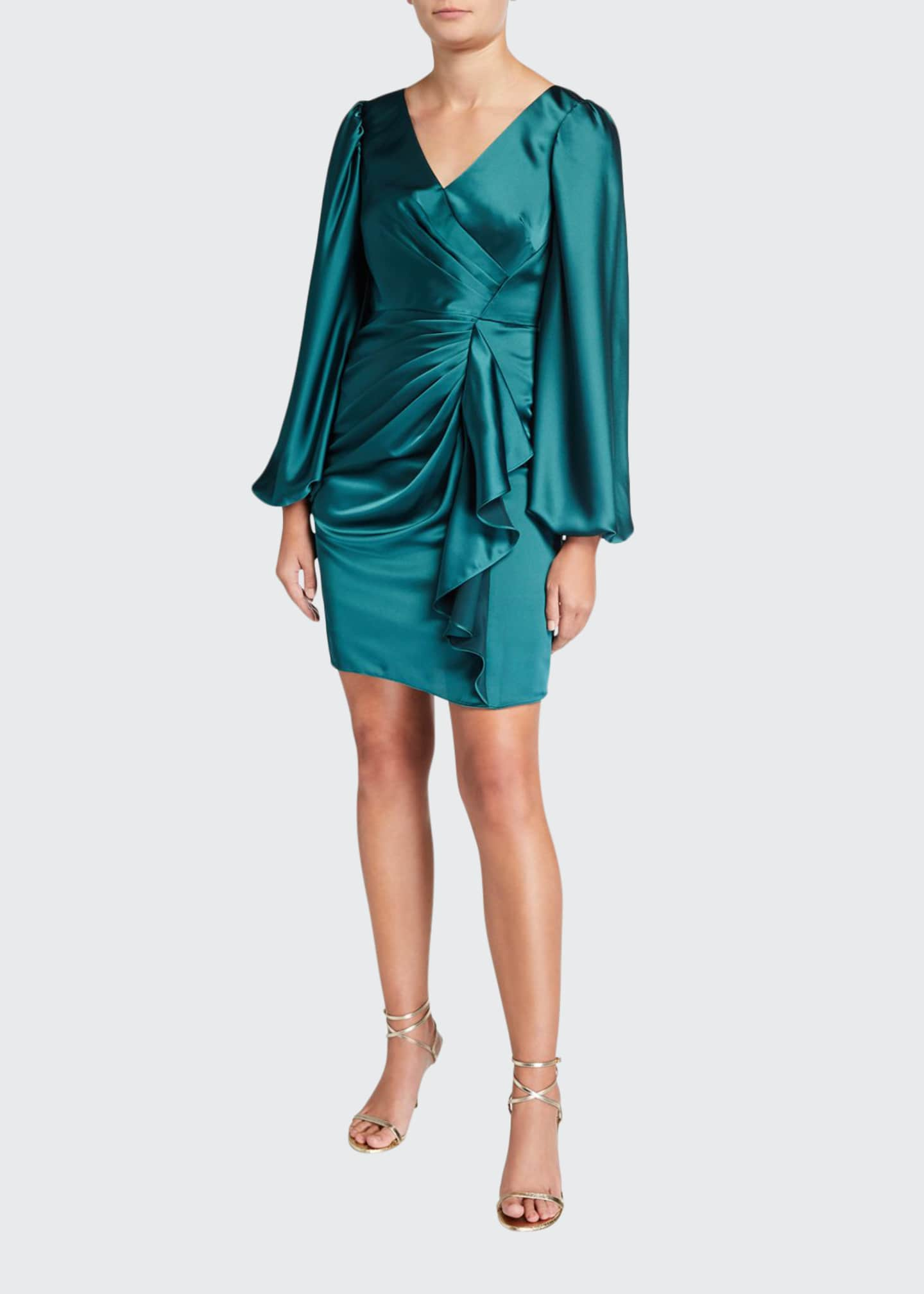 Aidan Mattox V-Neck Satin Leg Of Mutton Short