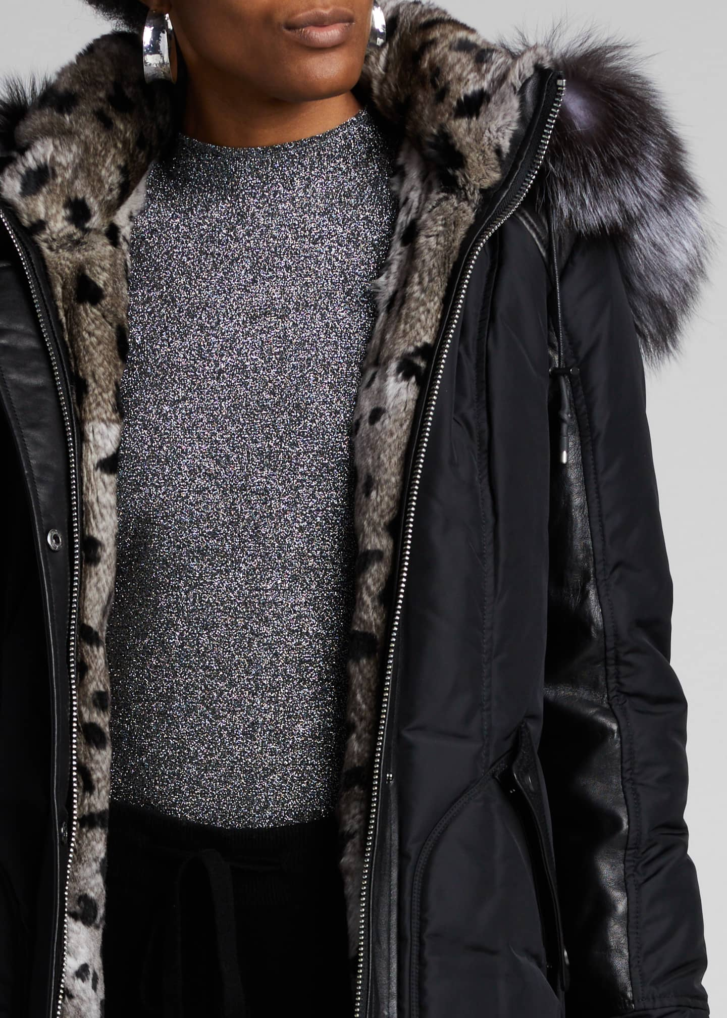 Image 4 of 5: Chelsea Intarsia Fur-Lined Coat