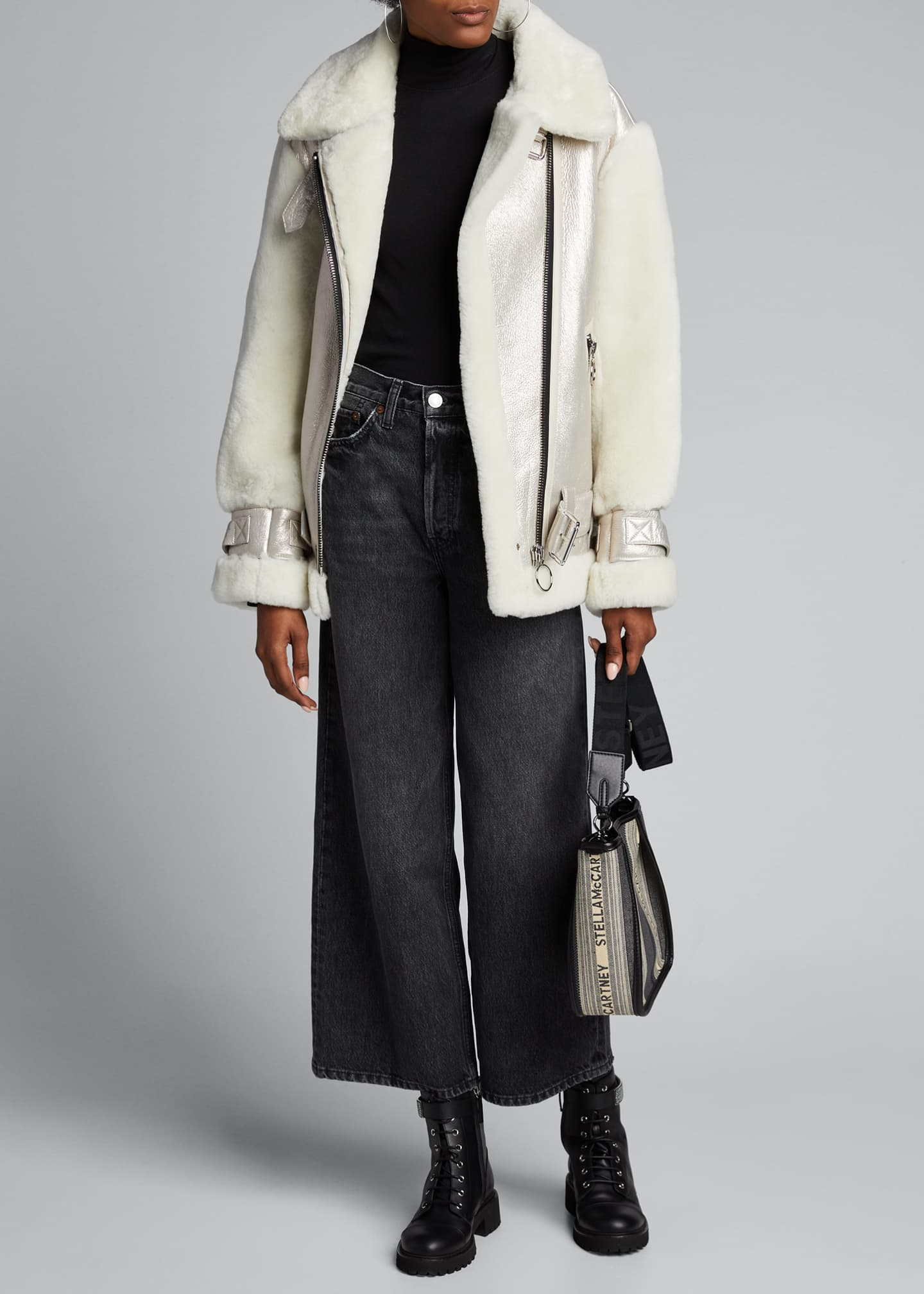 Nicole Benisti Gramercy Lamb Shearling Asymmetric-Zip Coat