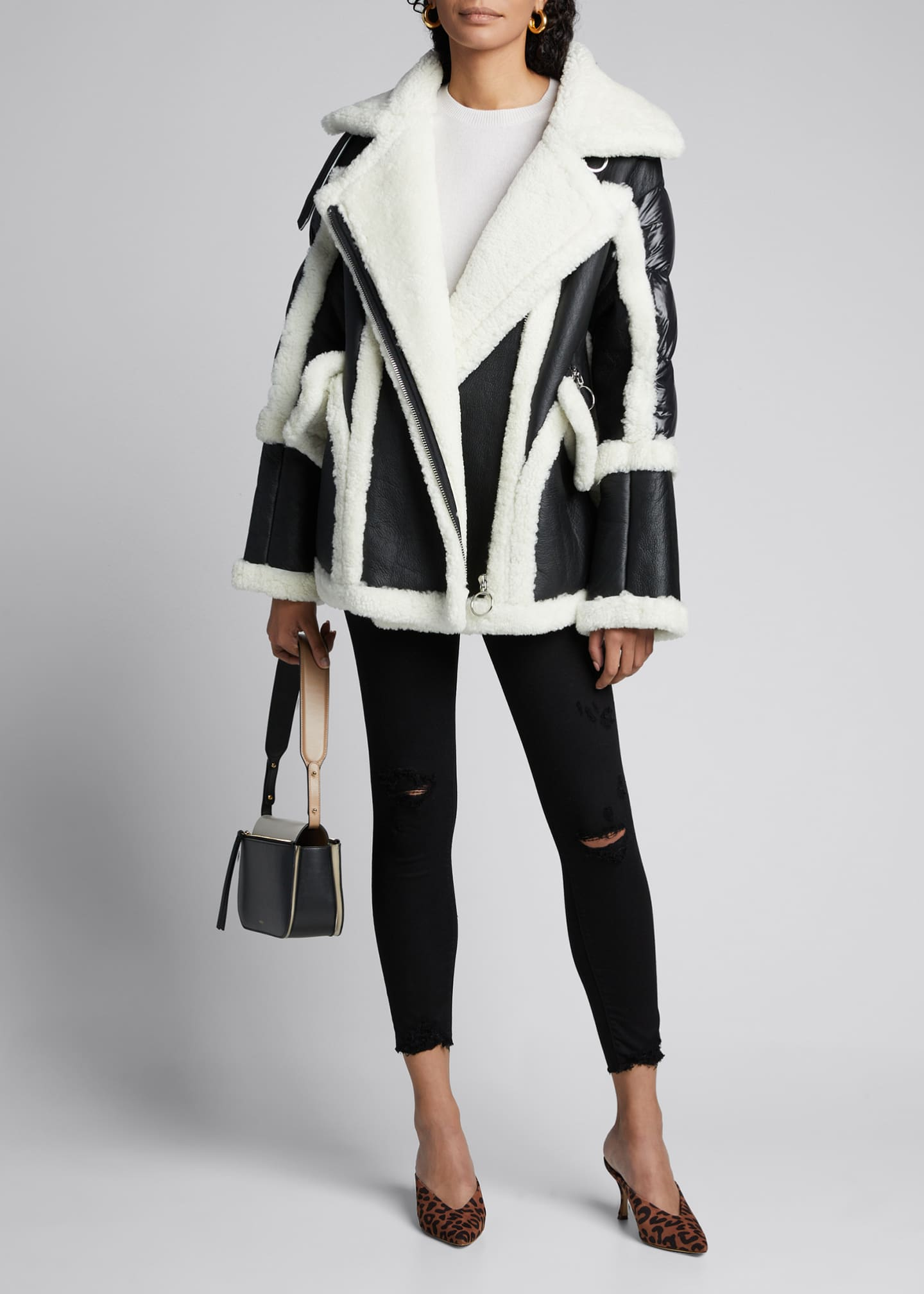 Nicole Benisti Montaigne Shearling Puffer-Back Coat