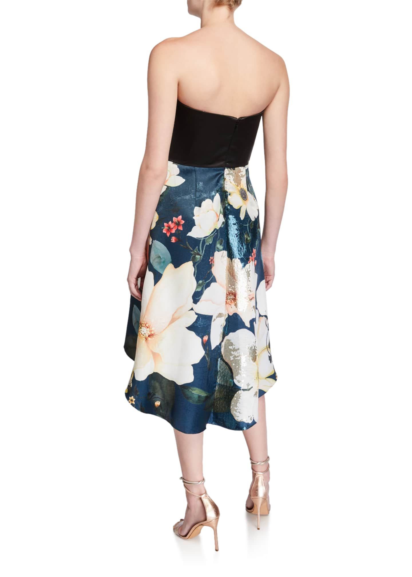 Image 2 of 2: Strapless Printed Metallic Jacquard High-Low Cocktail Dress