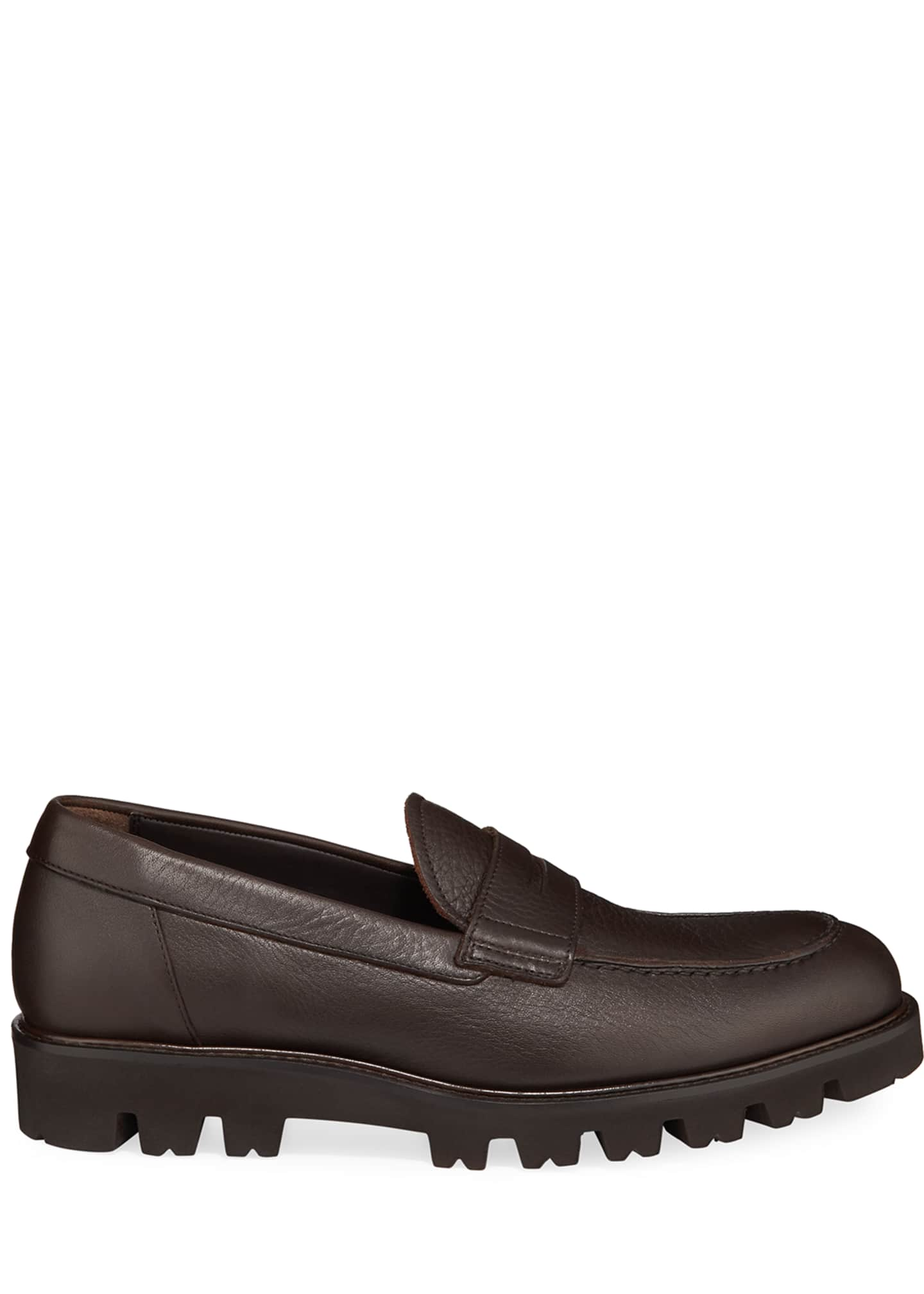 Image 3 of 5: Men's Comrade Leather Lug-Sole Penny Loafers
