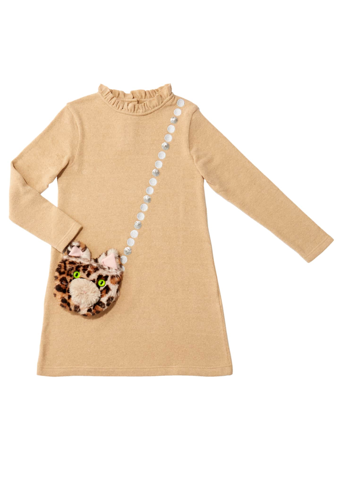 Charabia Girl's Mimi Long-Sleeve Dress w/ Attached Faux