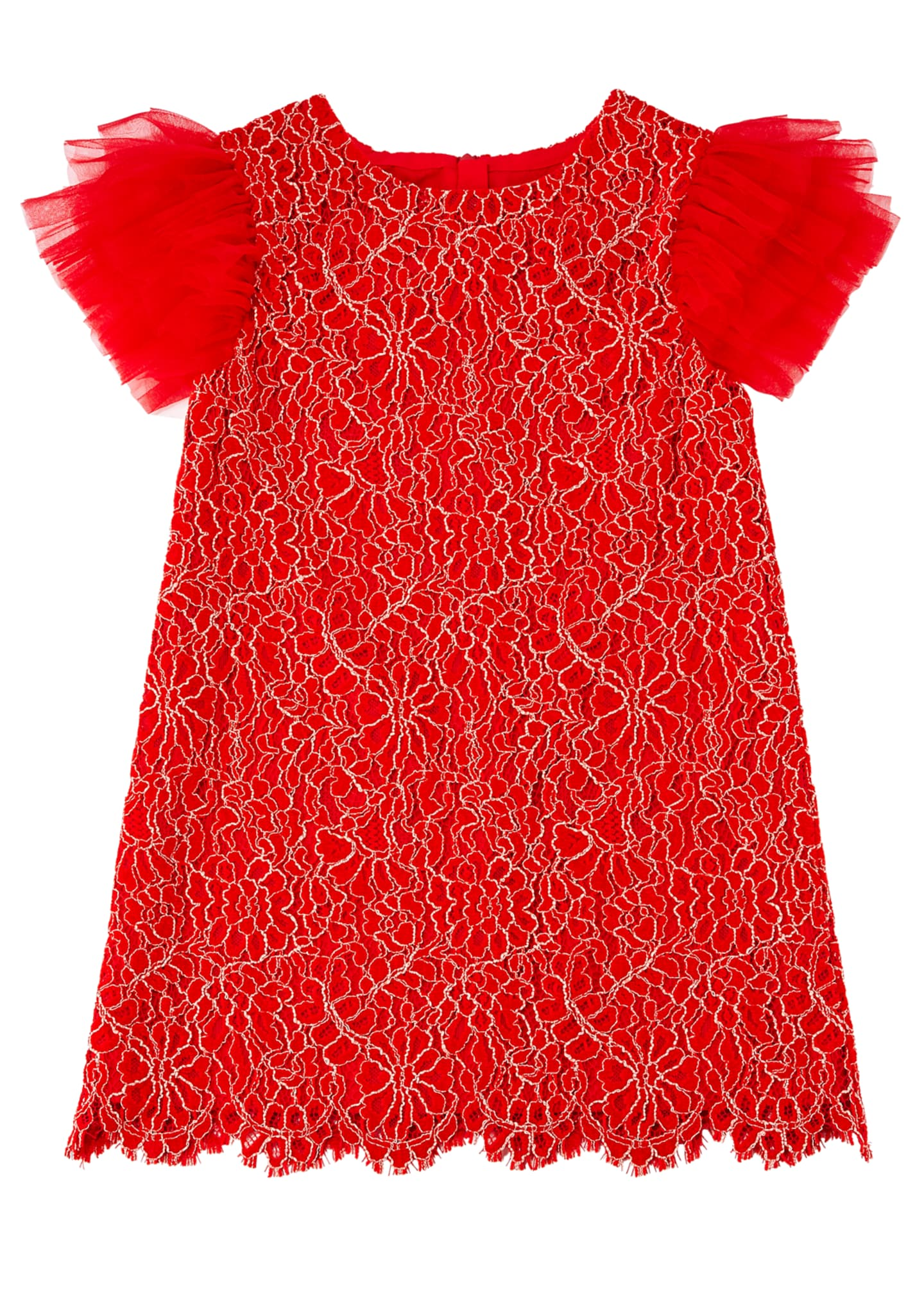 Image 1 of 2: Woven Lace Dress w/ Tulle Flutter Sleeves, Size 4-8