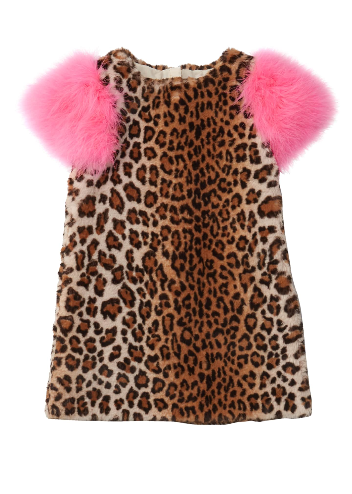 Image 1 of 1: Nala Leopard Print Faux Fur Dress, Size 10-12