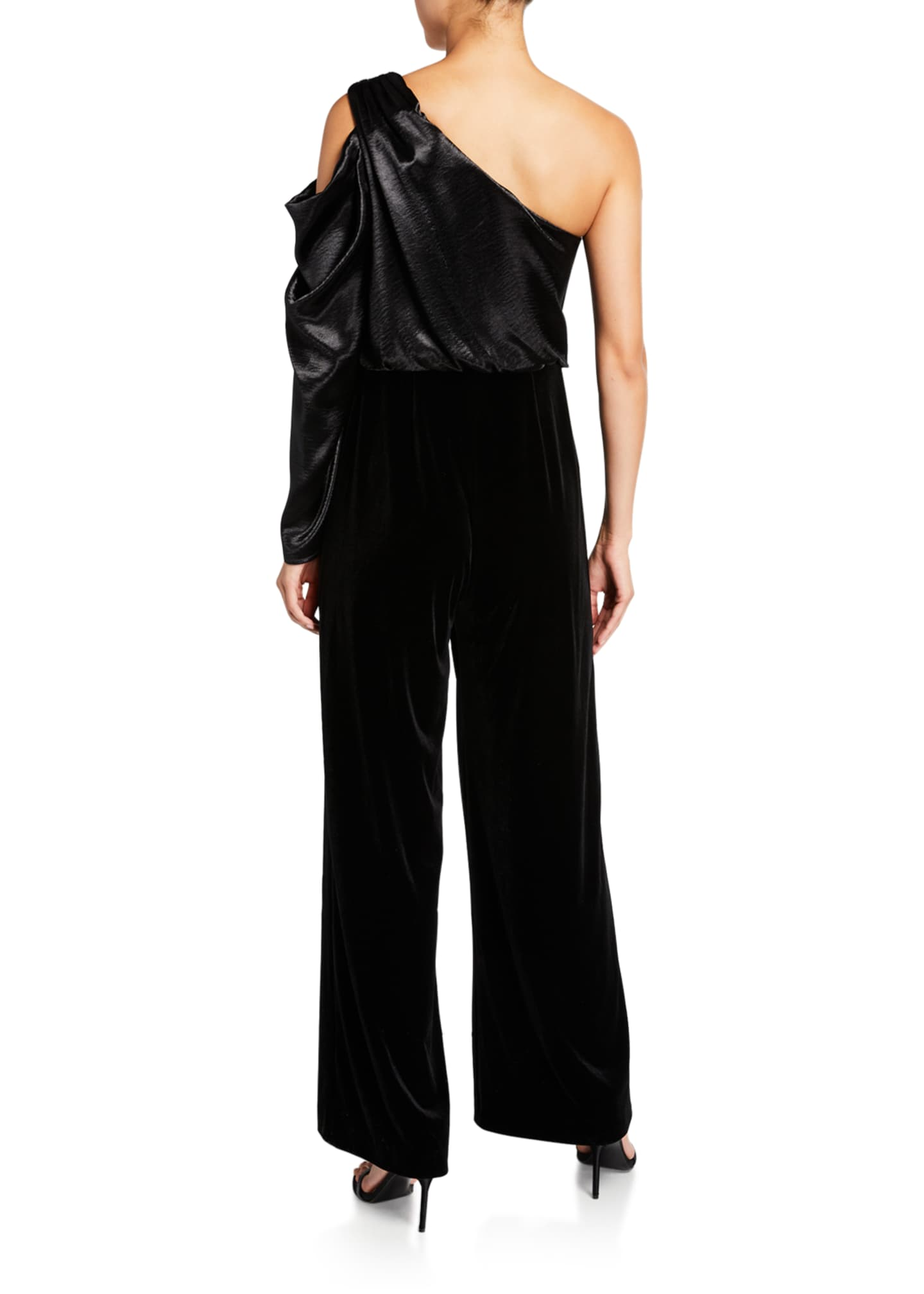 Image 2 of 2: Draped Asymmetrical Velvet Jumpsuit