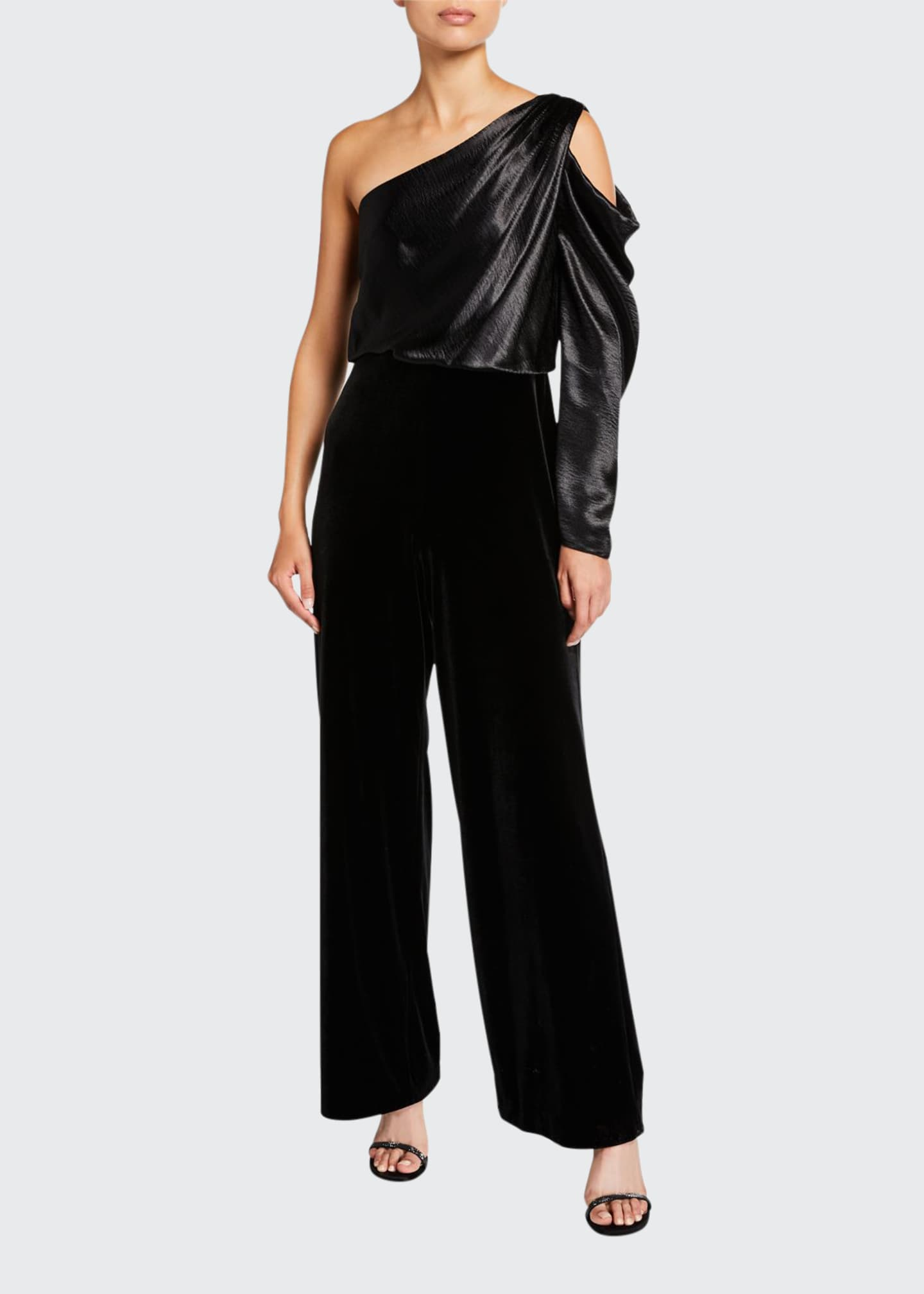 Image 1 of 2: Draped Asymmetrical Velvet Jumpsuit