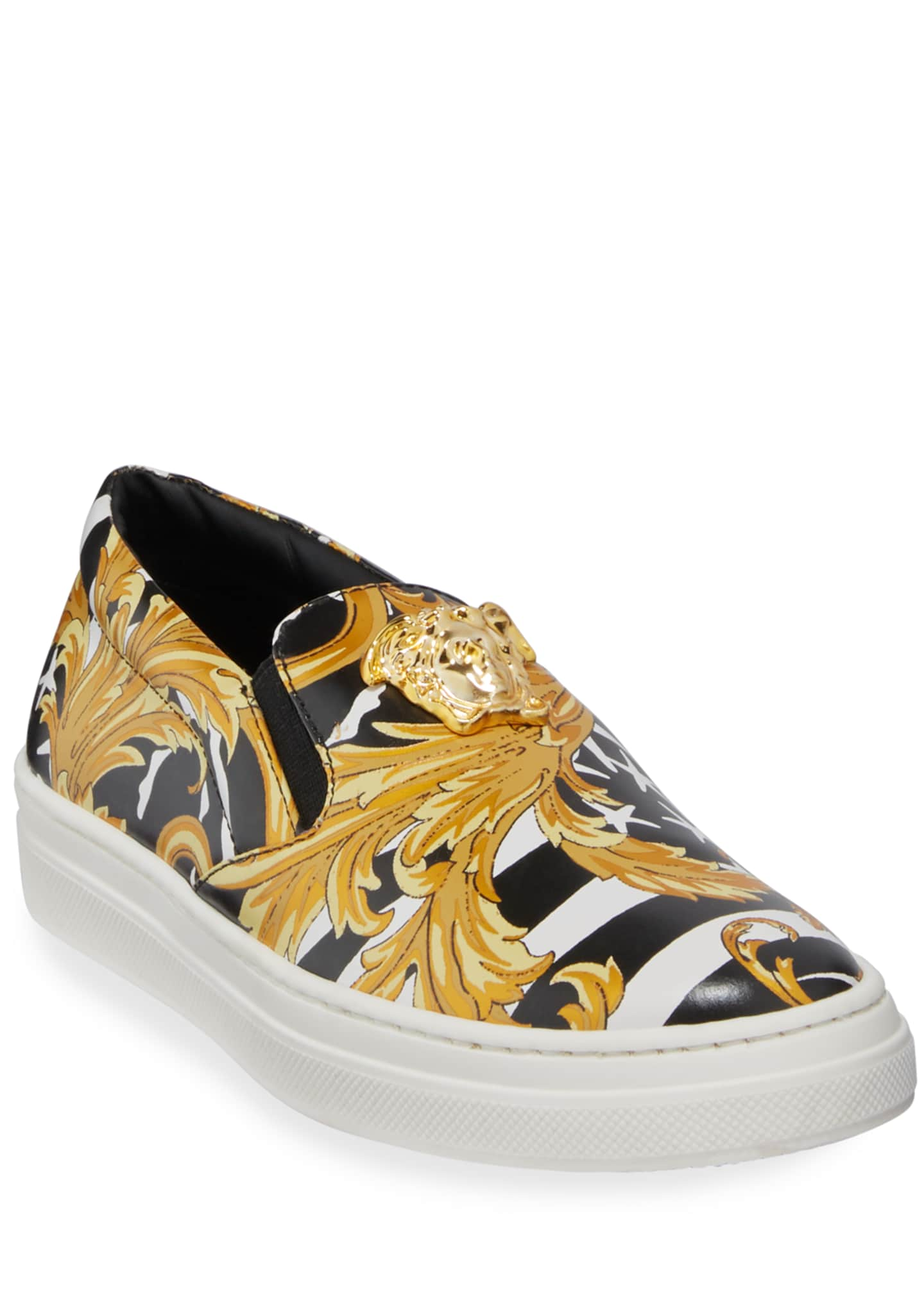 Versace Barocco Print Slip-On Sneakers, Big Kids