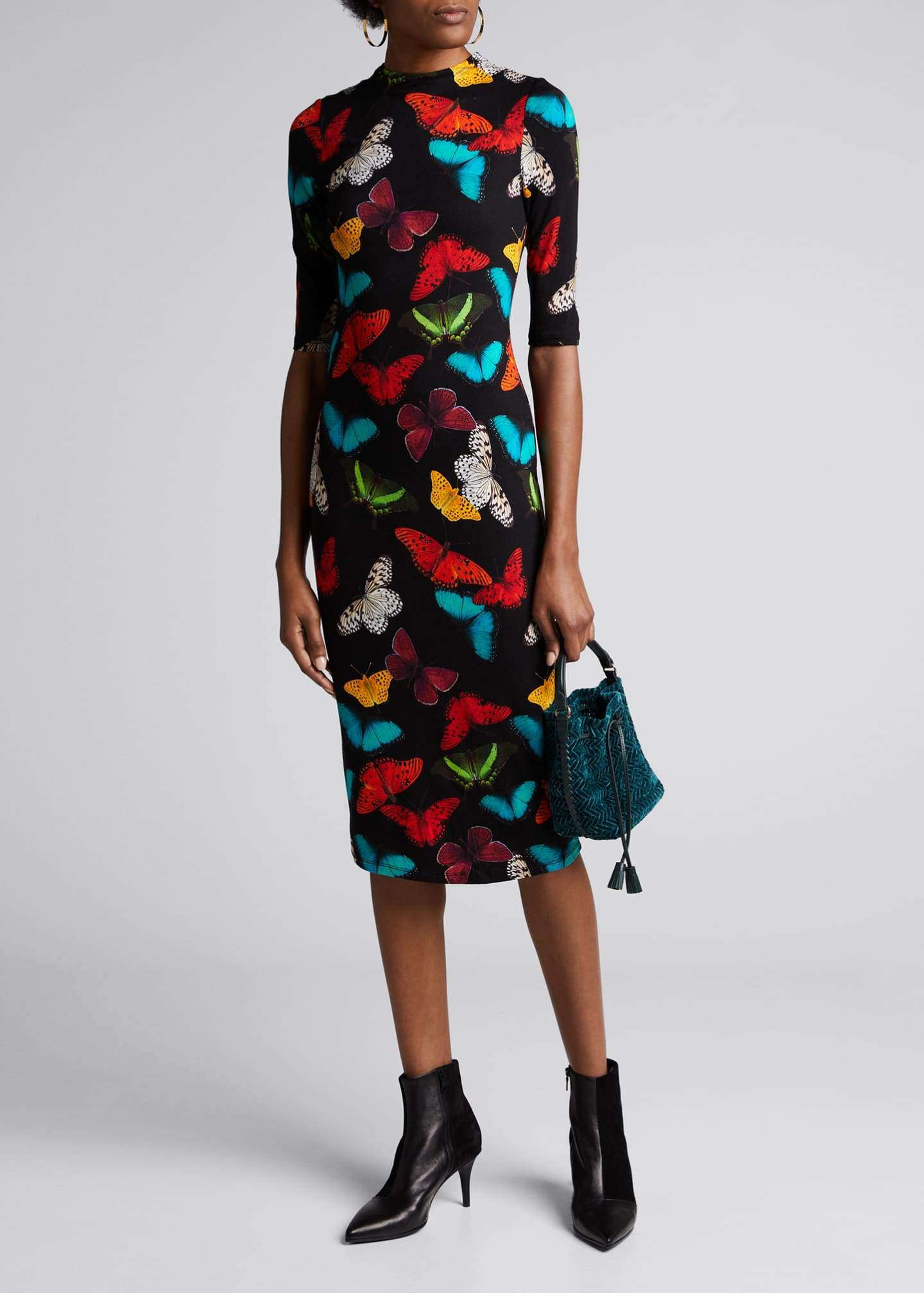 Alice + Olivia Delora Butterfly Fitted Mock-Neck Dress