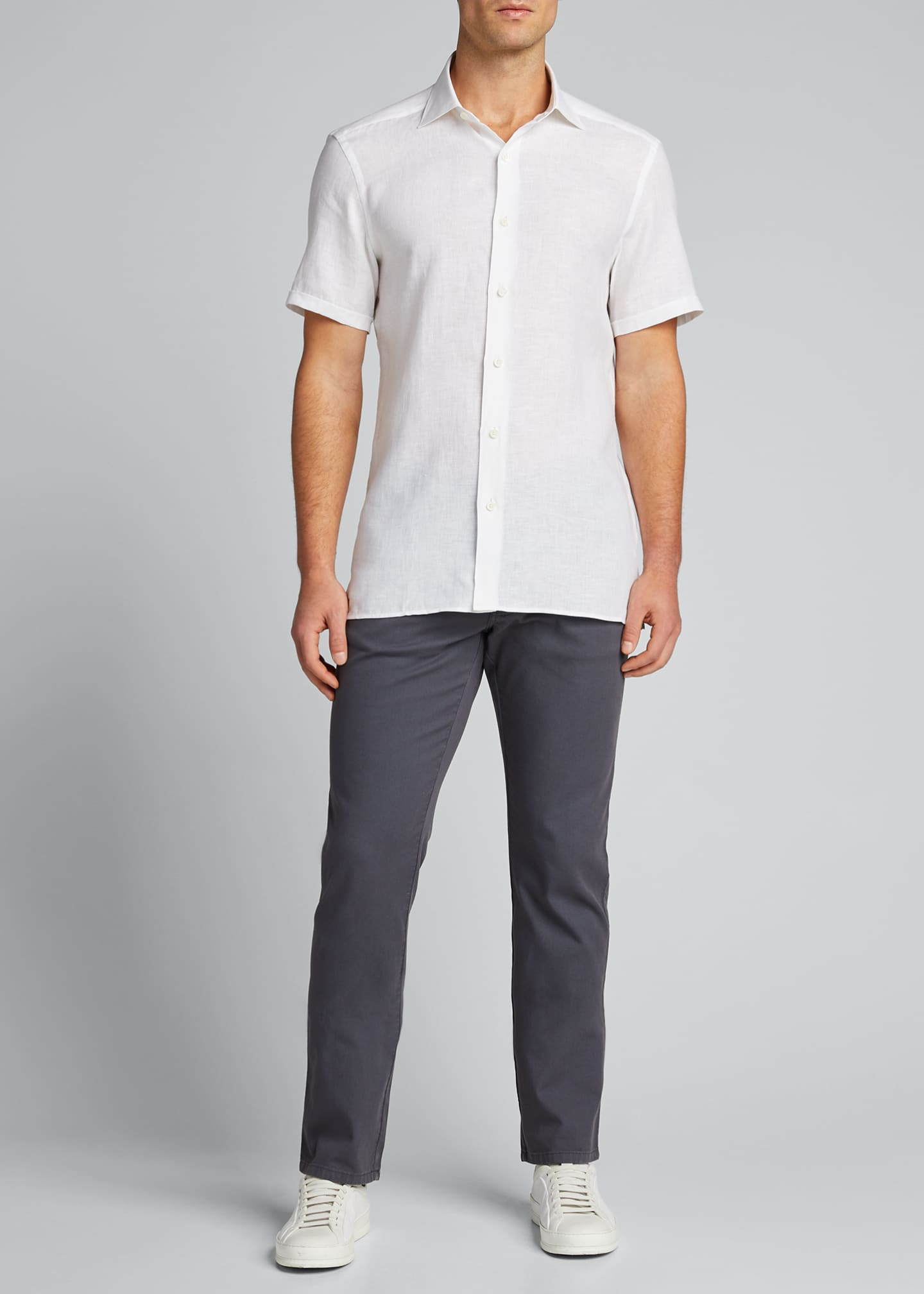 Ermenegildo Zegna Men's Solid Linen Short-Sleeve Sport Shirt