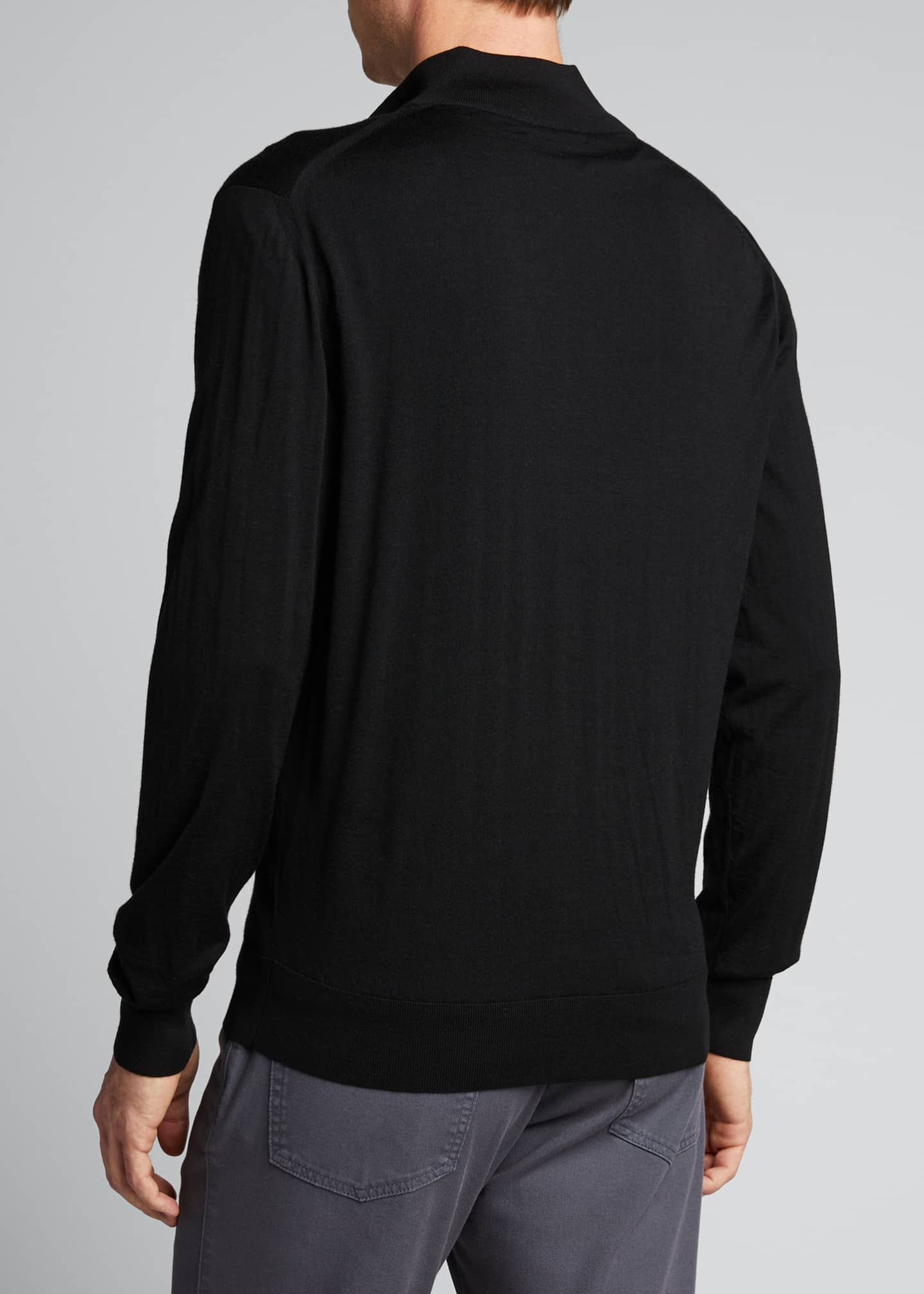 Image 2 of 5: Men's Solid Wool Zip-Front Sweater