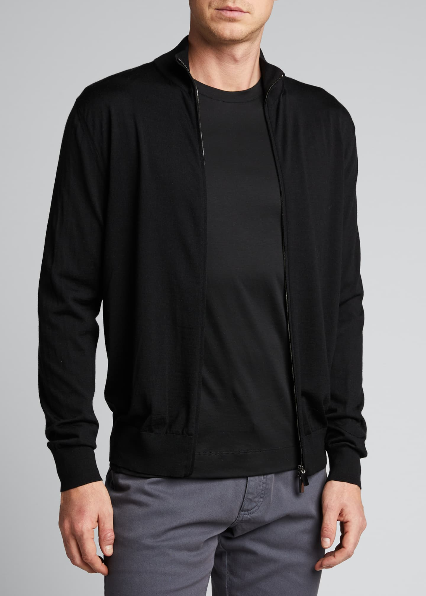 Image 3 of 5: Men's Solid Wool Zip-Front Sweater