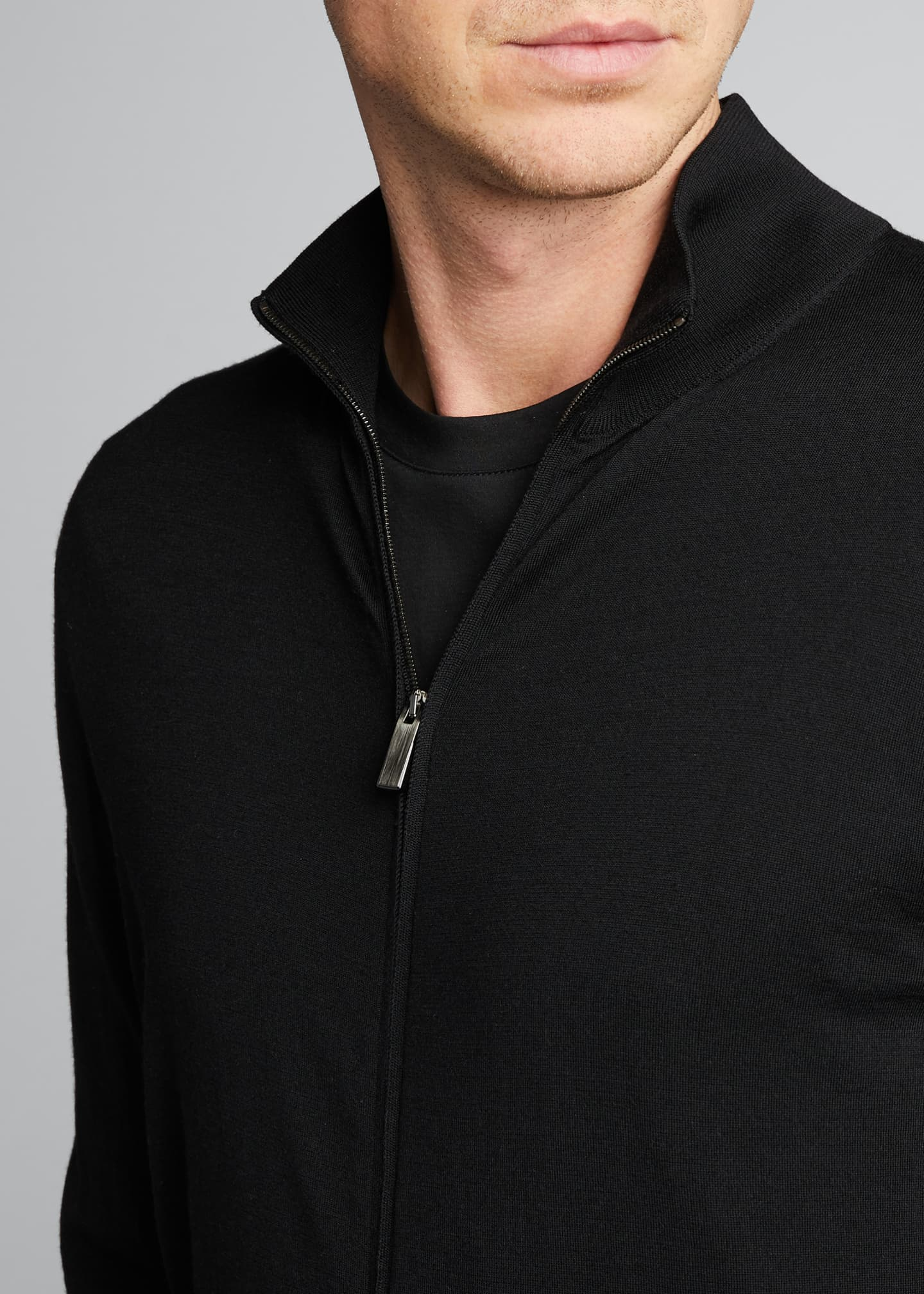 Image 4 of 5: Men's Solid Wool Zip-Front Sweater
