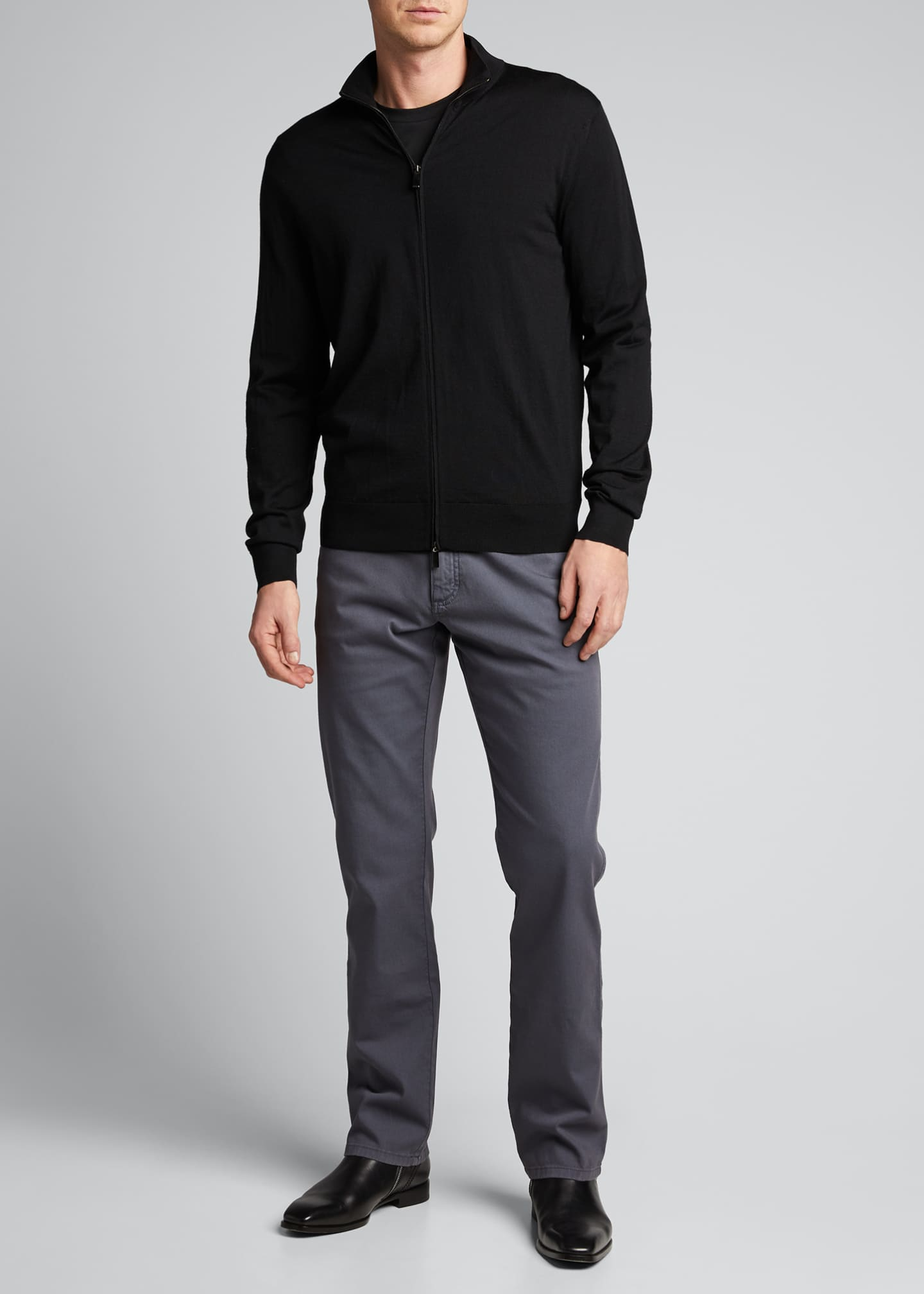 Image 1 of 5: Men's Solid Wool Zip-Front Sweater