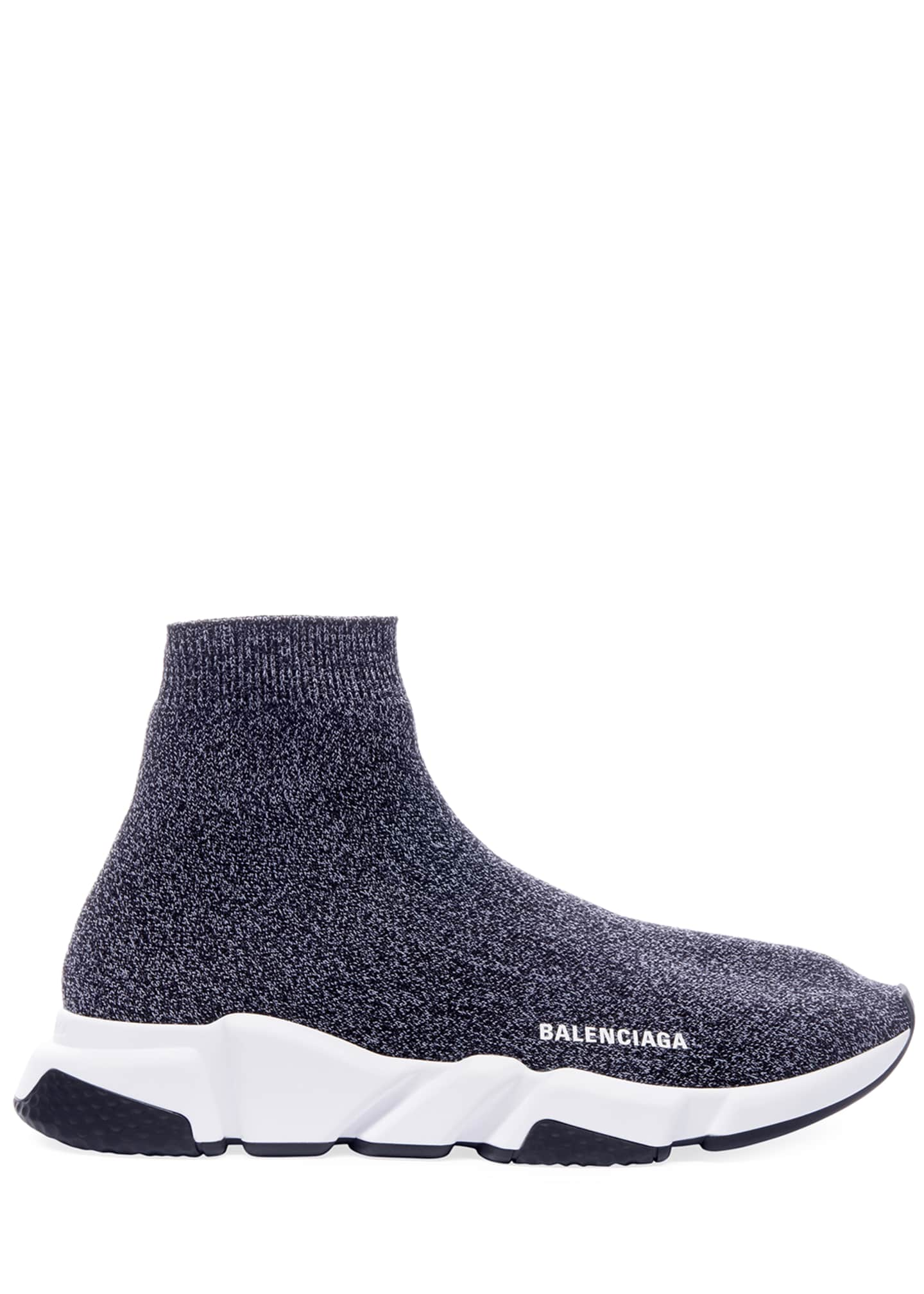 Image 3 of 4: Men's Speed Heathered Knit High-Top Sock Sneakers