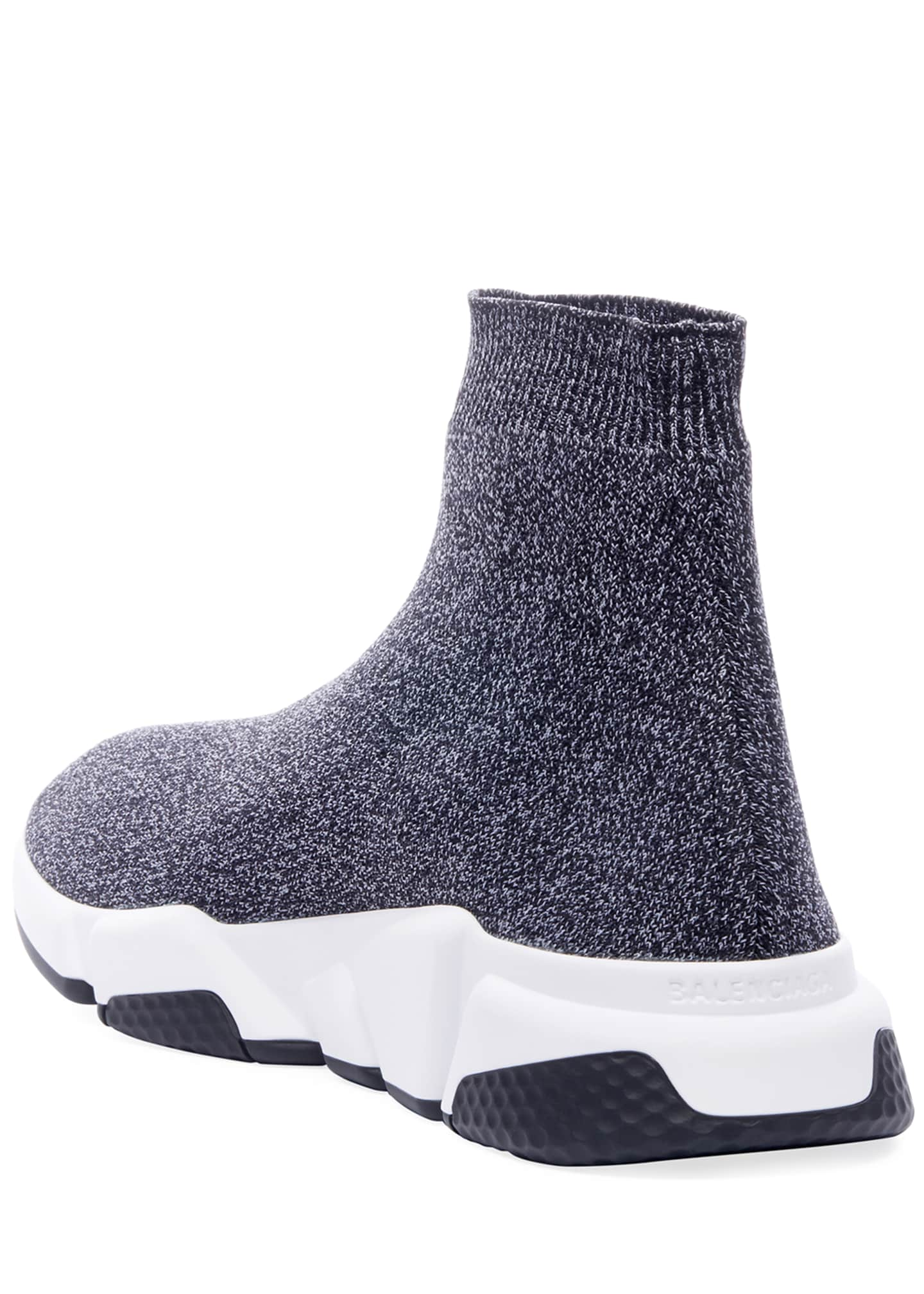 Image 4 of 4: Men's Speed Heathered Knit High-Top Sock Sneakers