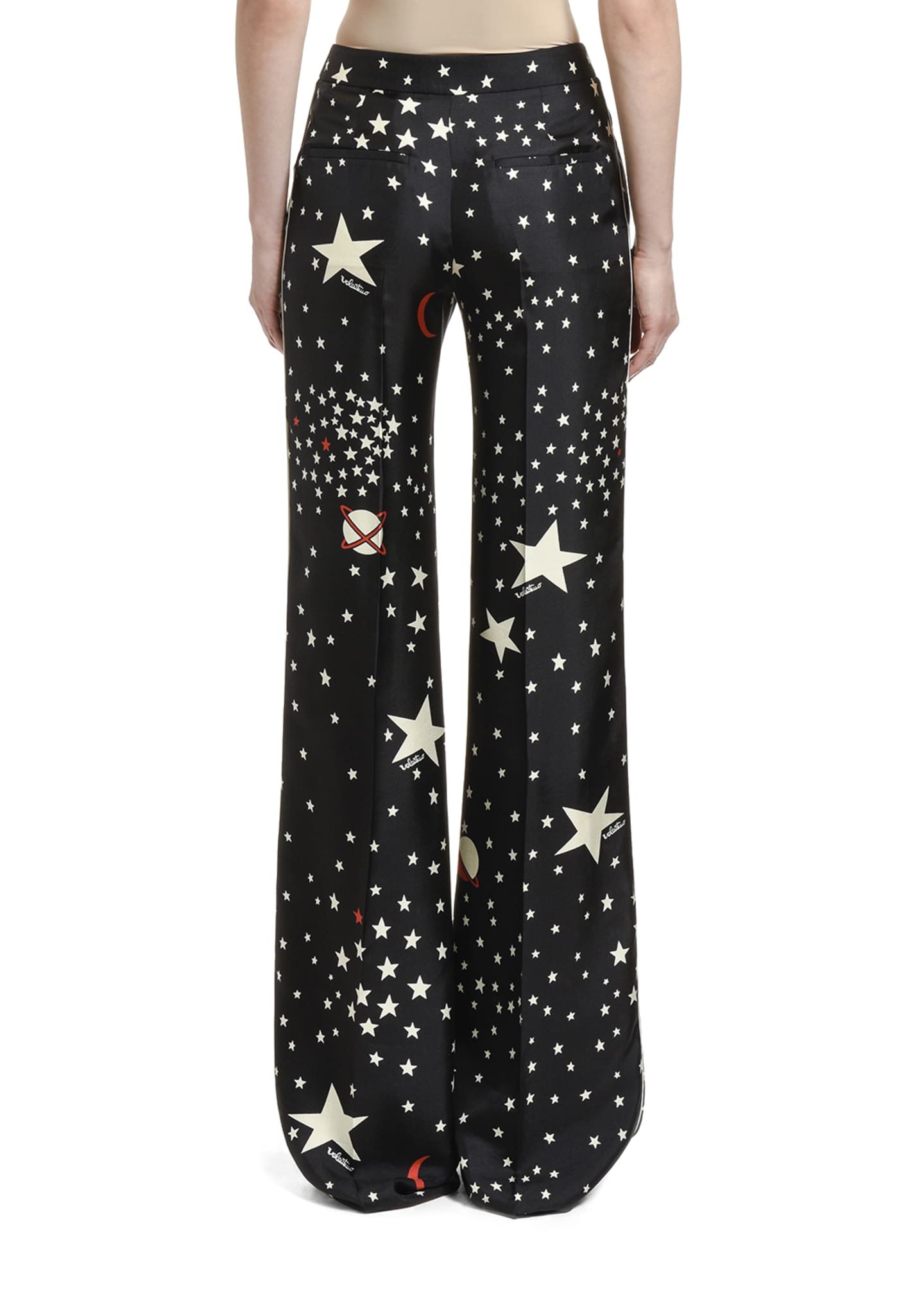 Image 2 of 2: Space-Motif Silk Trousers