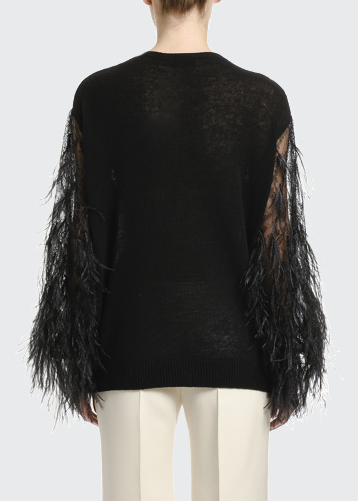 Image 2 of 2: Wool-Cashmere Feather-Sleeve Sweater