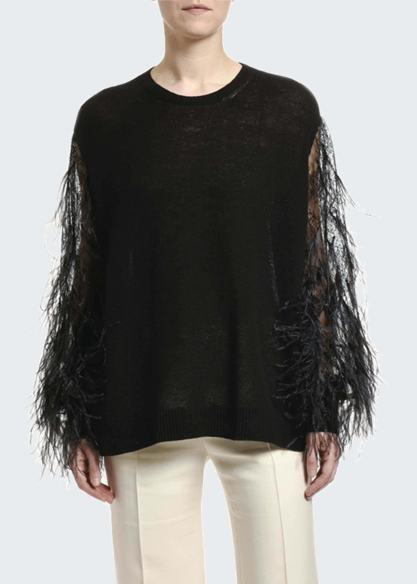 Image 1 of 2: Wool-Cashmere Feather-Sleeve Sweater