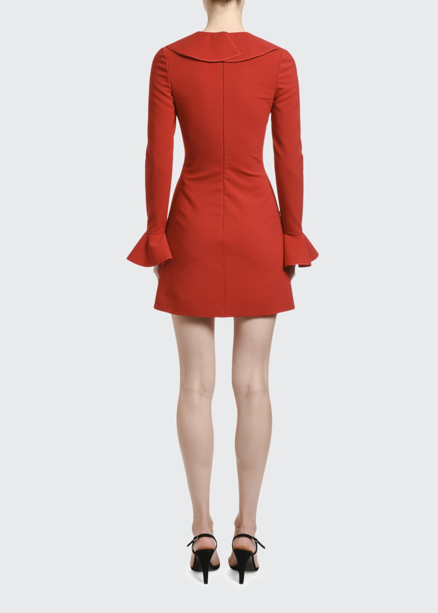 Image 3 of 3: Ruffled Neck Bell-Sleeve Dress