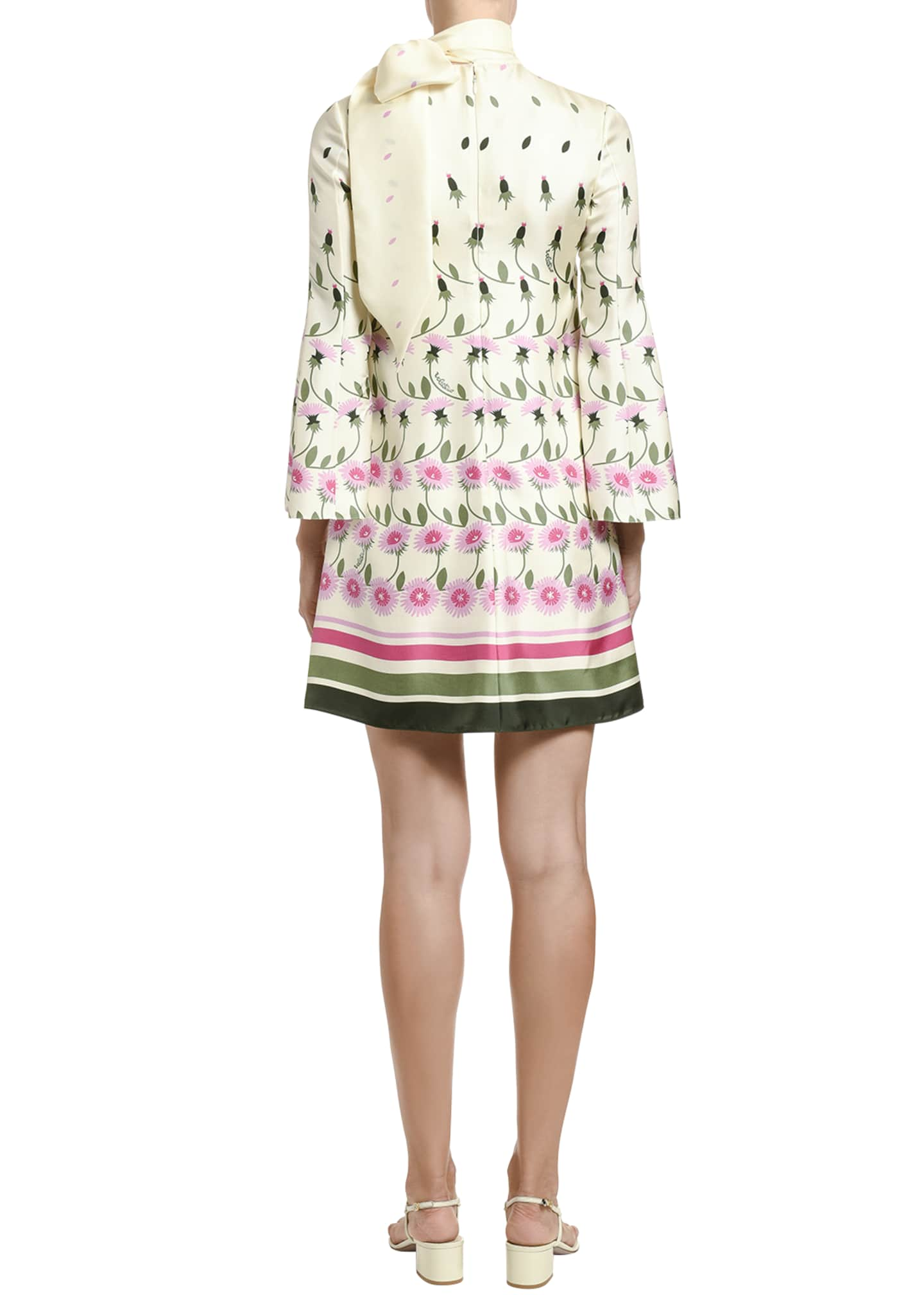 Image 2 of 4: Floral-Print Silk Tie-Neck Shift Dress