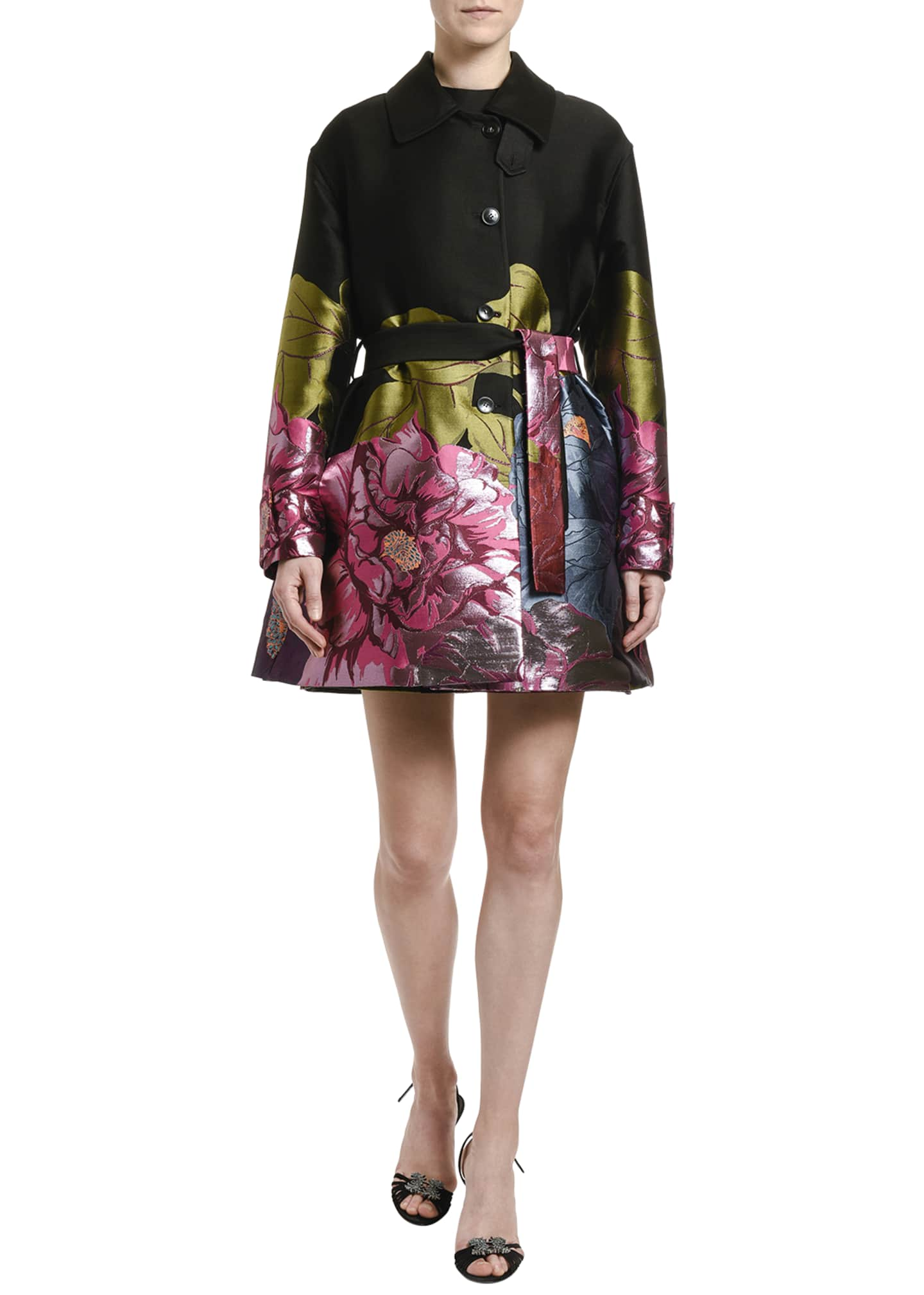 Image 2 of 3: Floral Embroidered Topper Coat