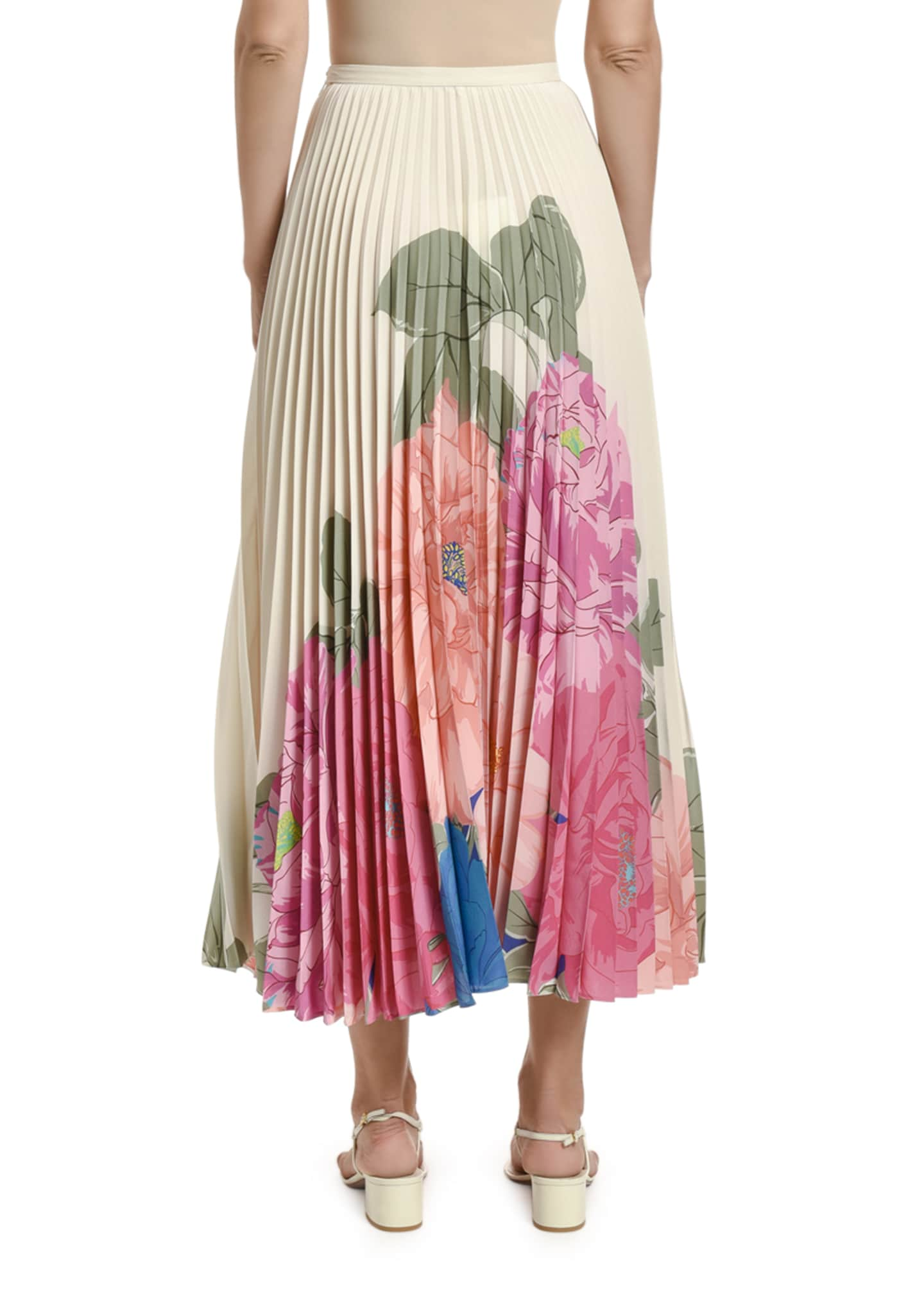 Image 2 of 2: Floral-Print Pleated Midi Skirt