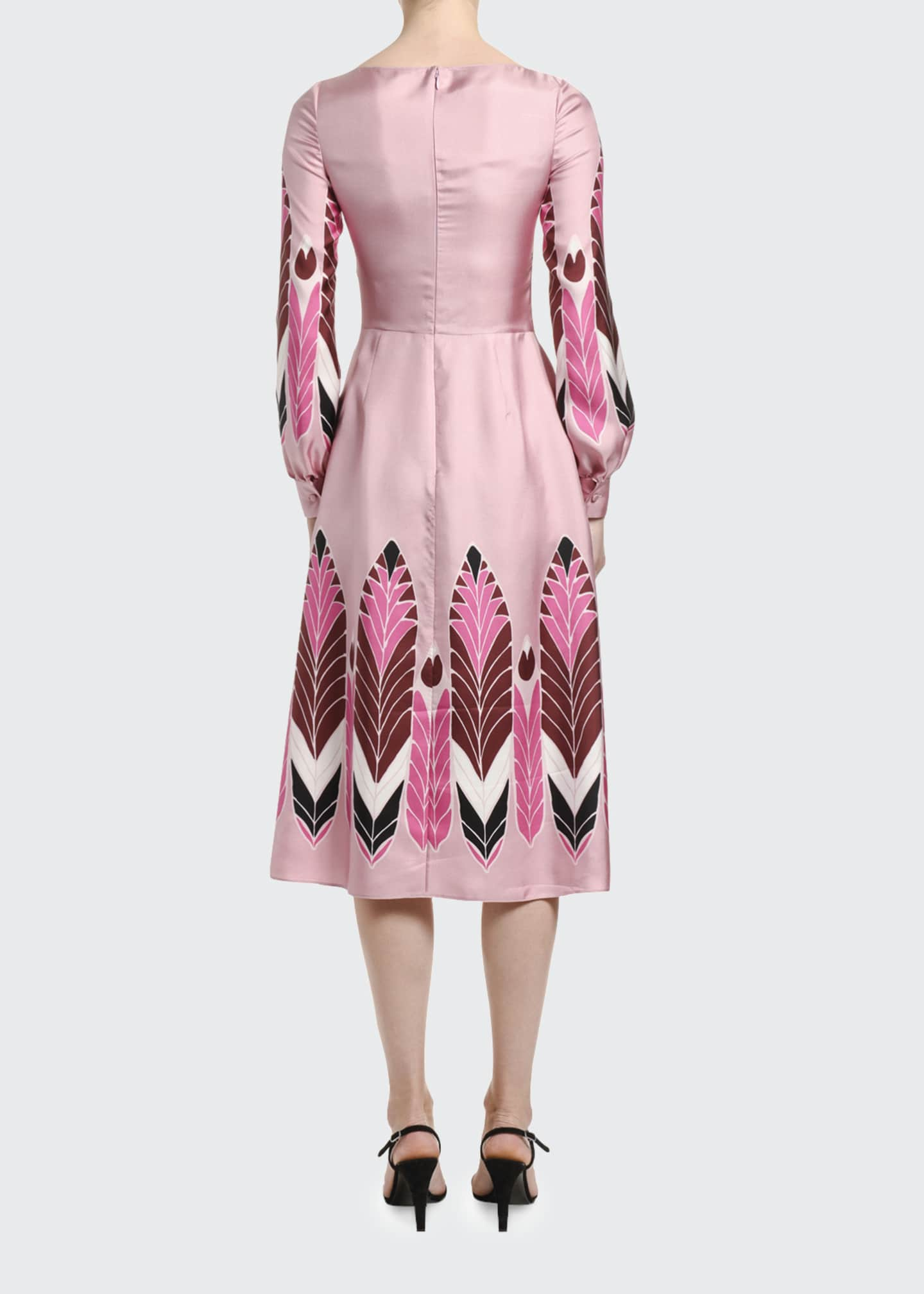 Image 2 of 3: Silk Long-Sleeve Midi Dress
