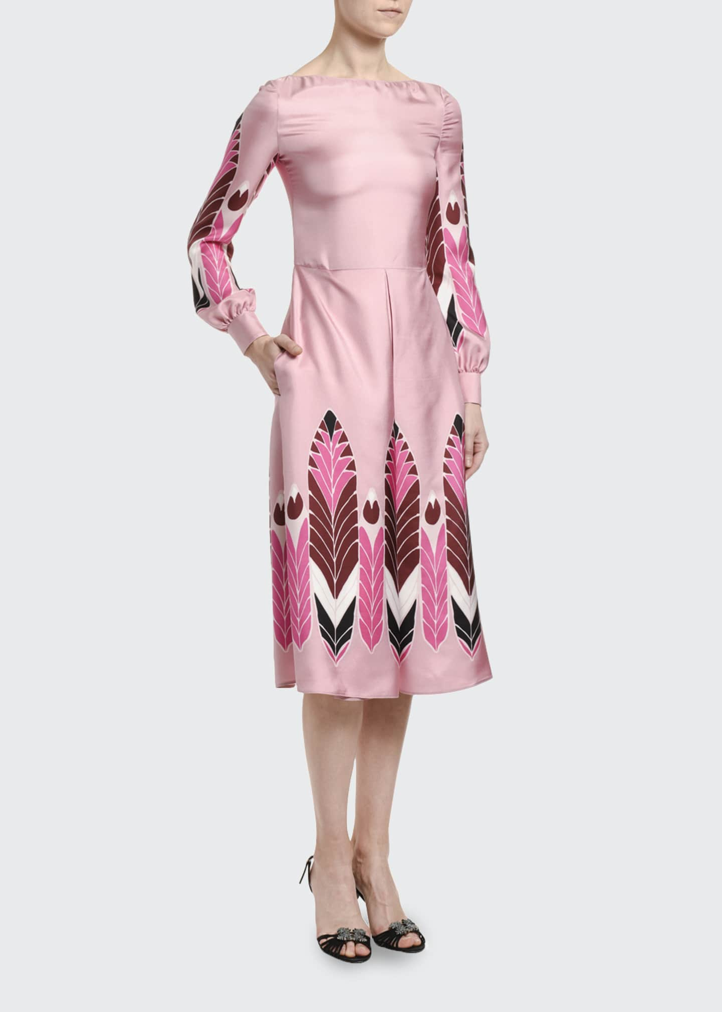 Image 3 of 3: Silk Long-Sleeve Midi Dress