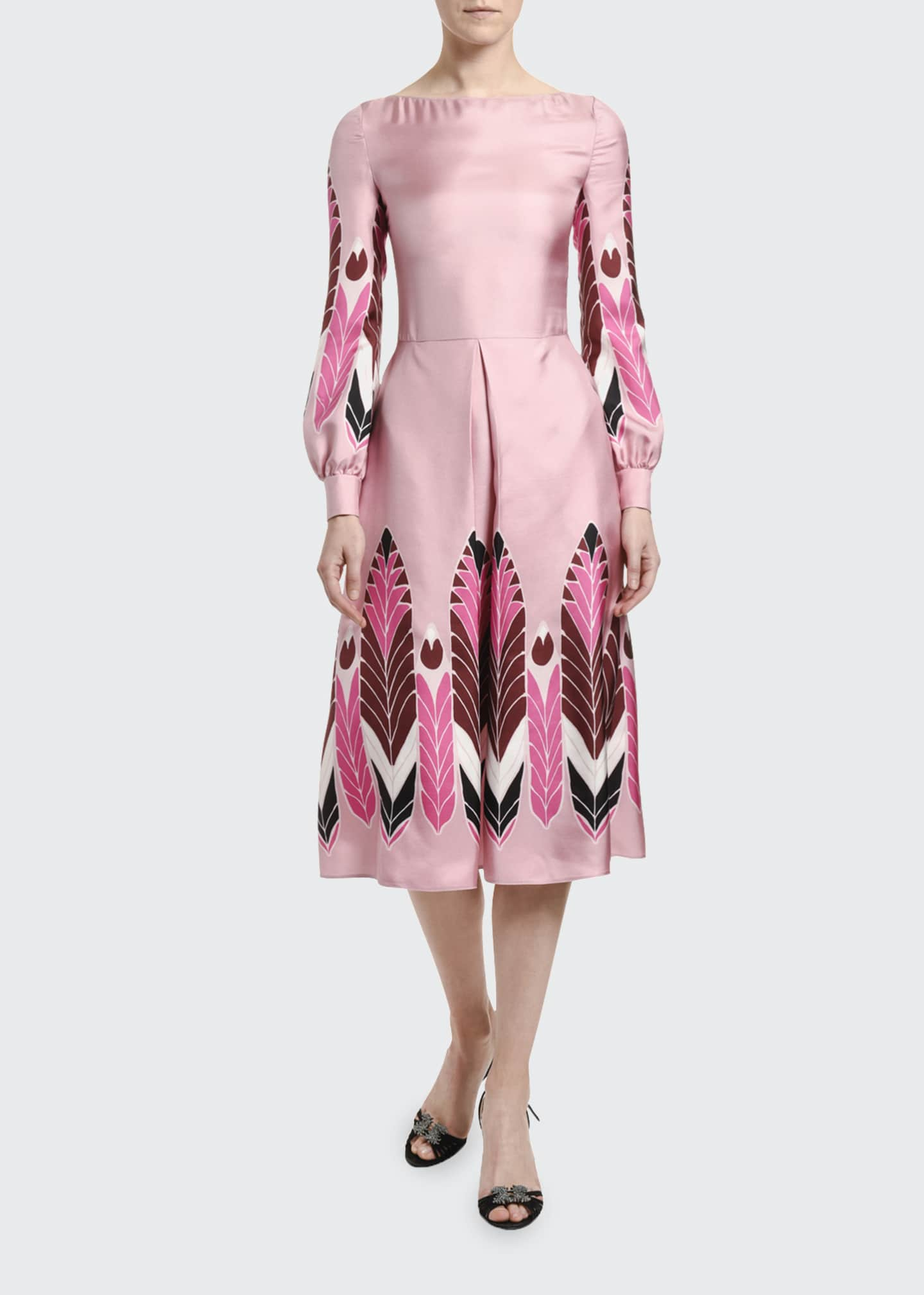 Image 1 of 3: Silk Long-Sleeve Midi Dress