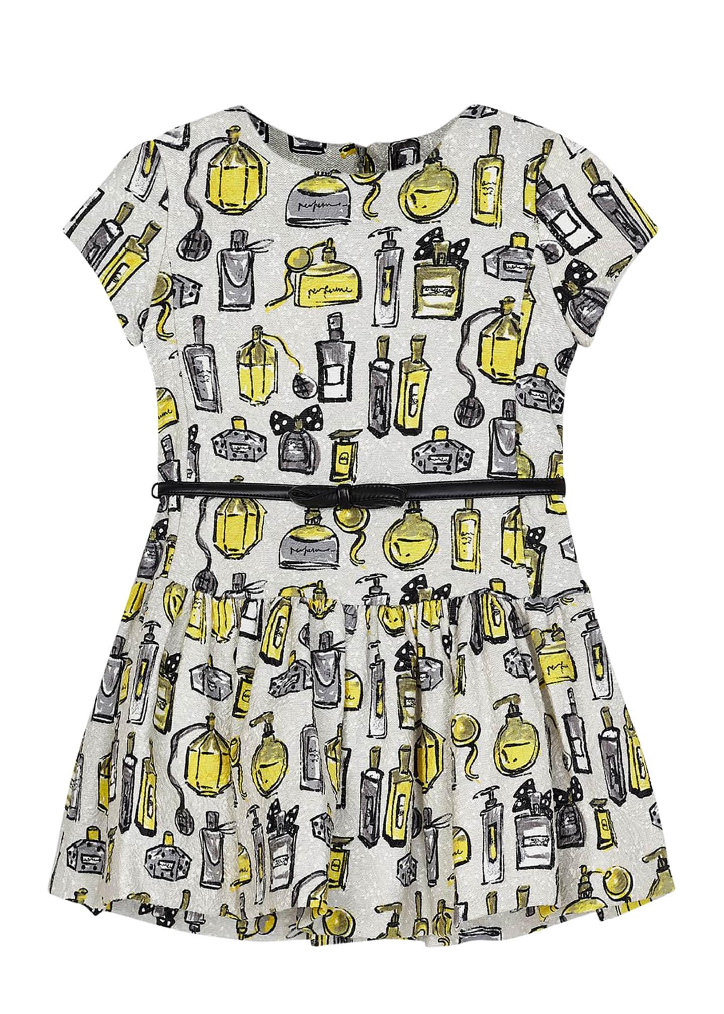 Mayoral Girl's Perfume Bottle Print Dress w/ Belt,