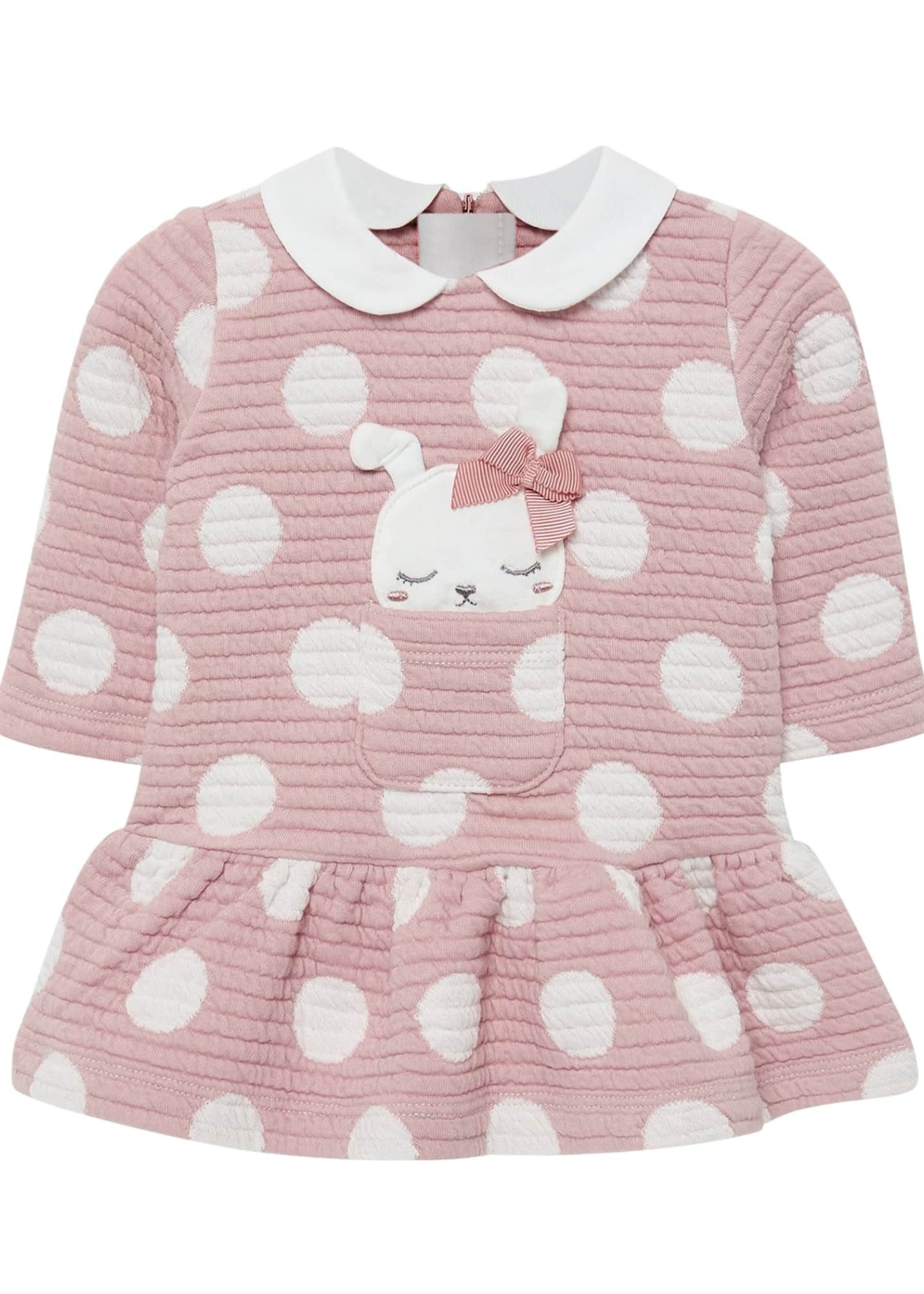 Mayoral Girl's Quilted Polka-Dot Dress w/ Dog Applique,