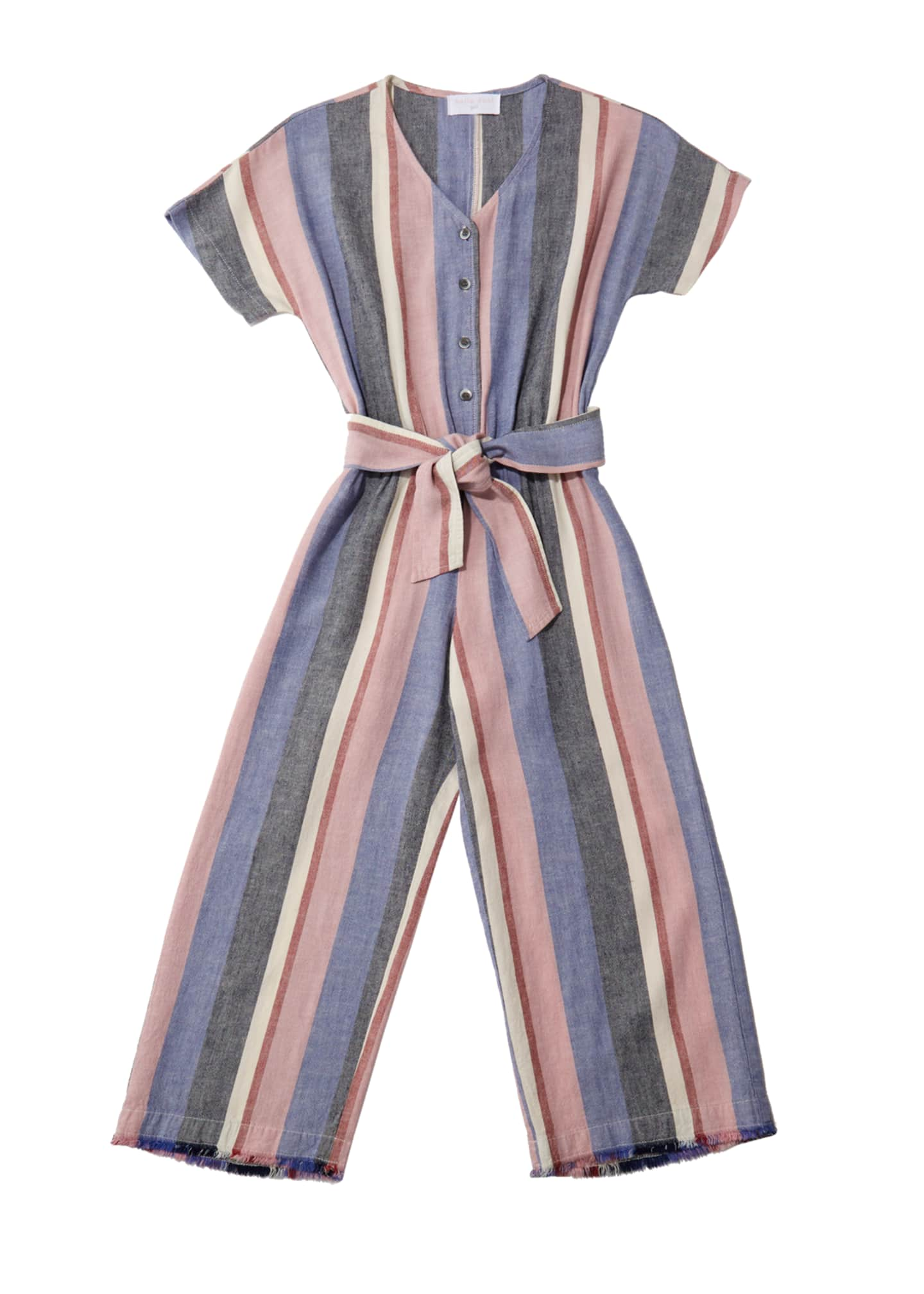 Bella Dahl Multi-Stripe Frayed Jumpsuit w/ Belted Waist,