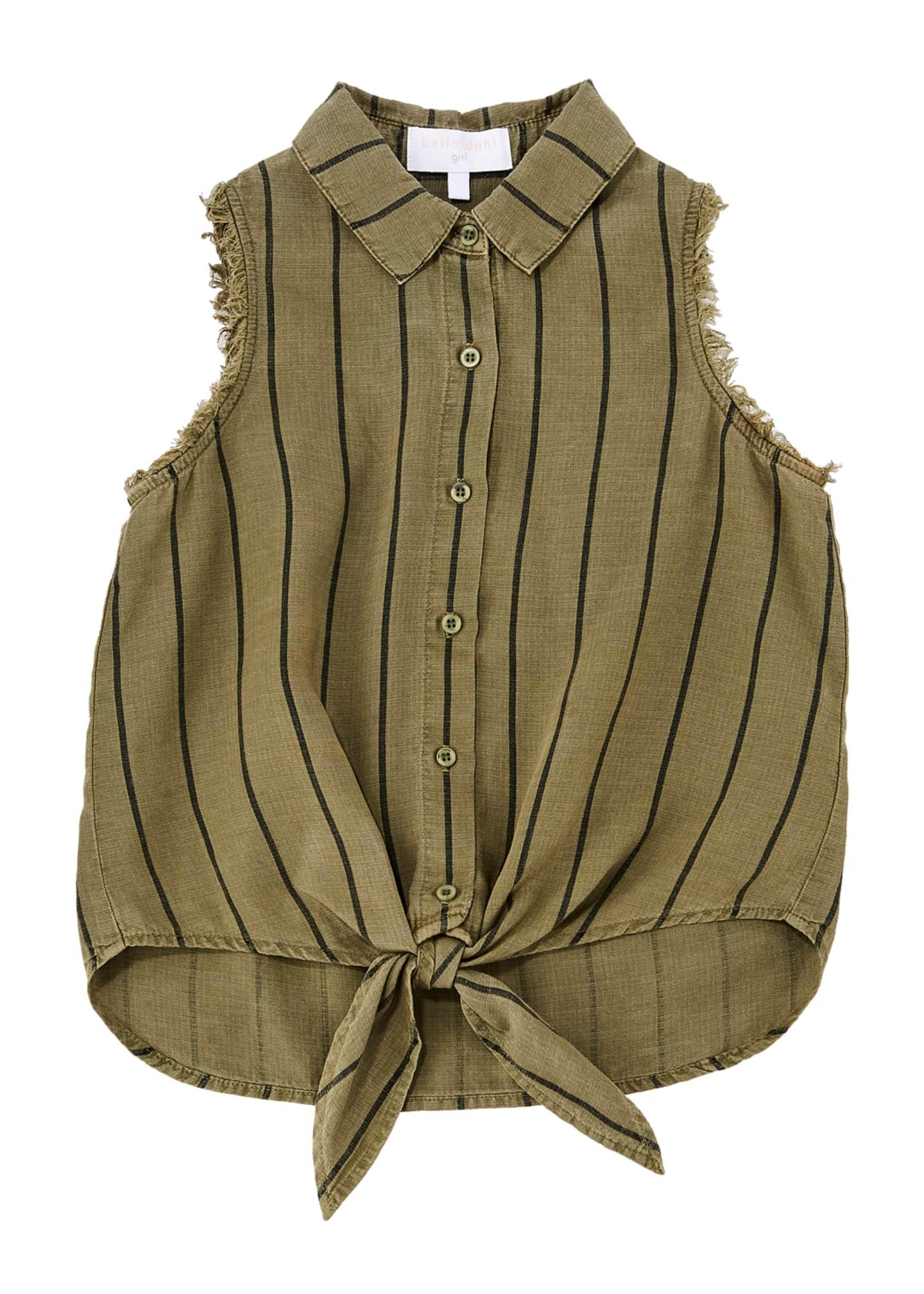 Bella Dahl Tie-Front Frayed Sleeveless Shirt, Size 8-14