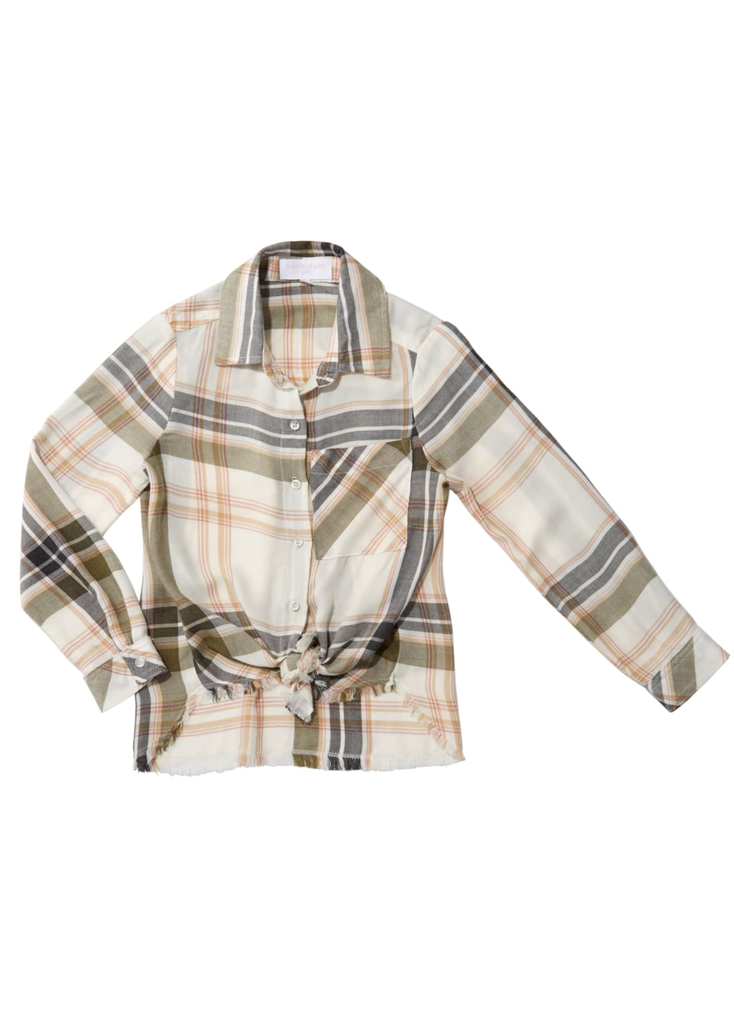 Bella Dahl Frayed Tie-Front Plaid Shirt, Size 8-14