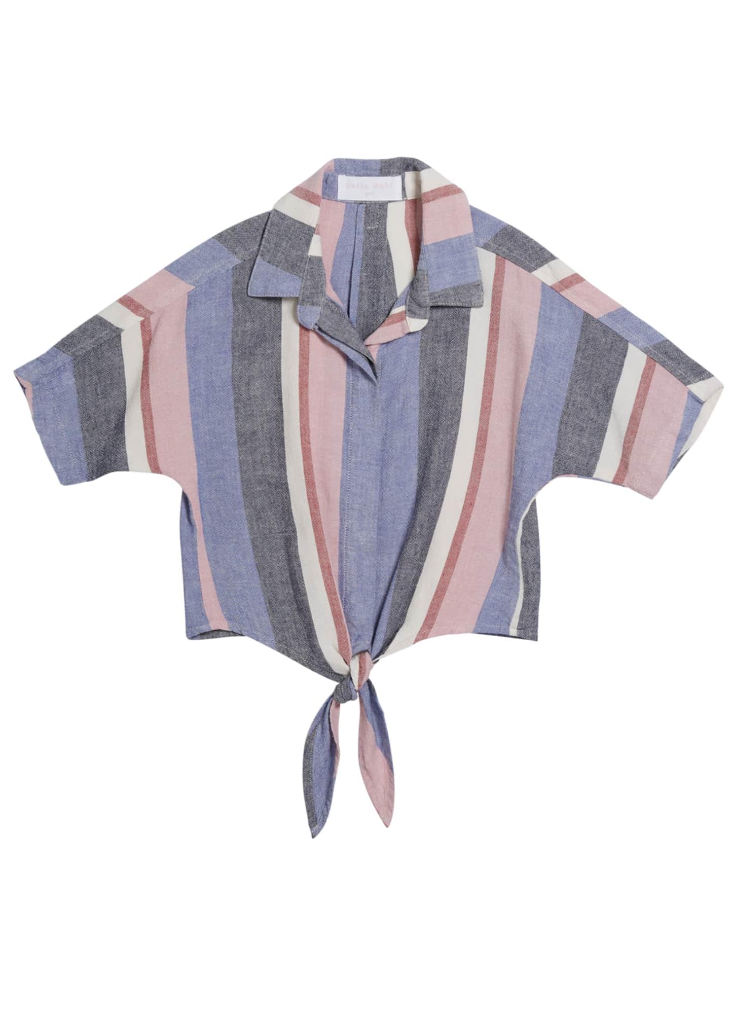 Bella Dahl Multi-Stripe Tie-Front Shirt, Size 8-14