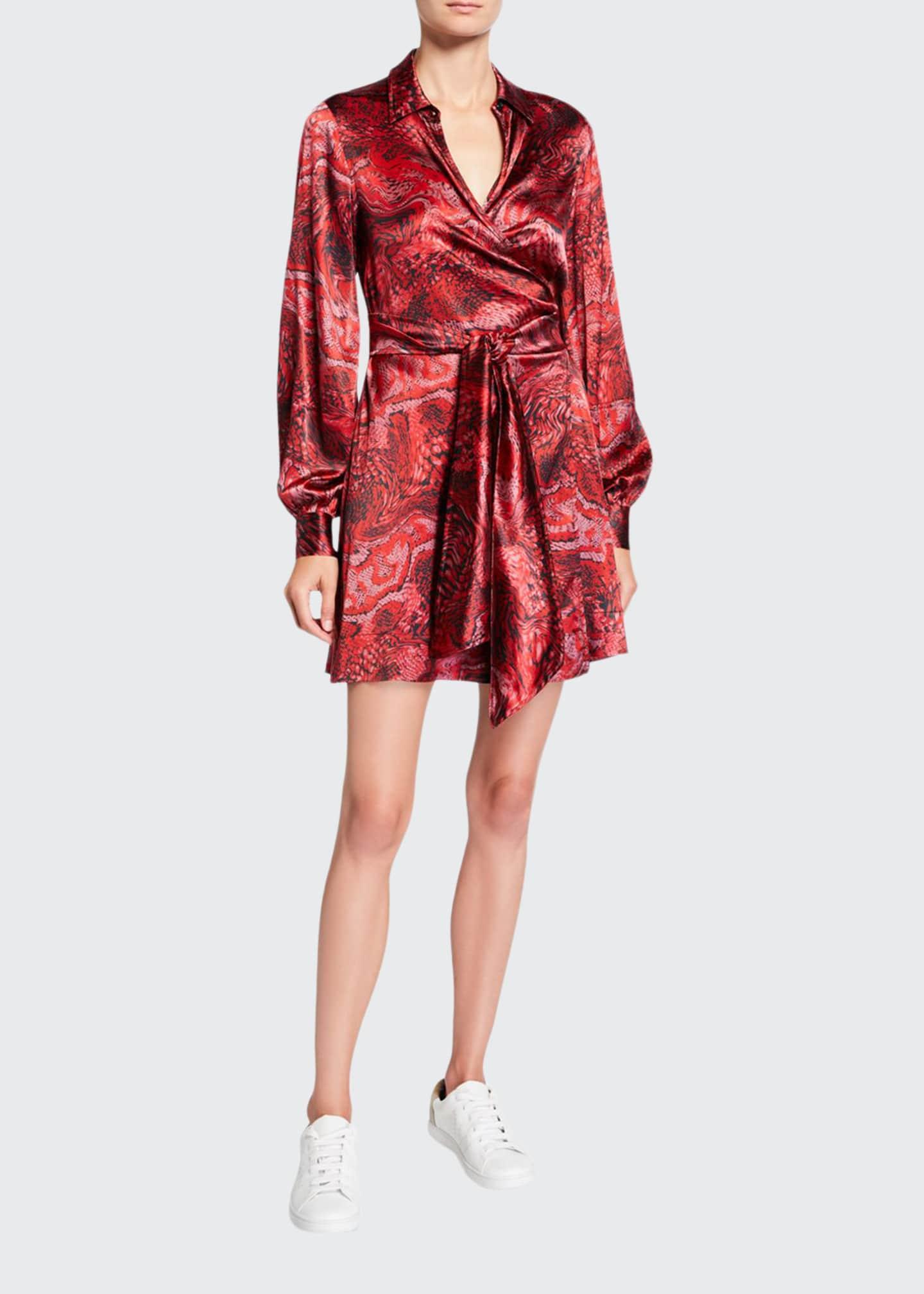 Ganni Printed Satin Long-Sleeve Wrap Dress