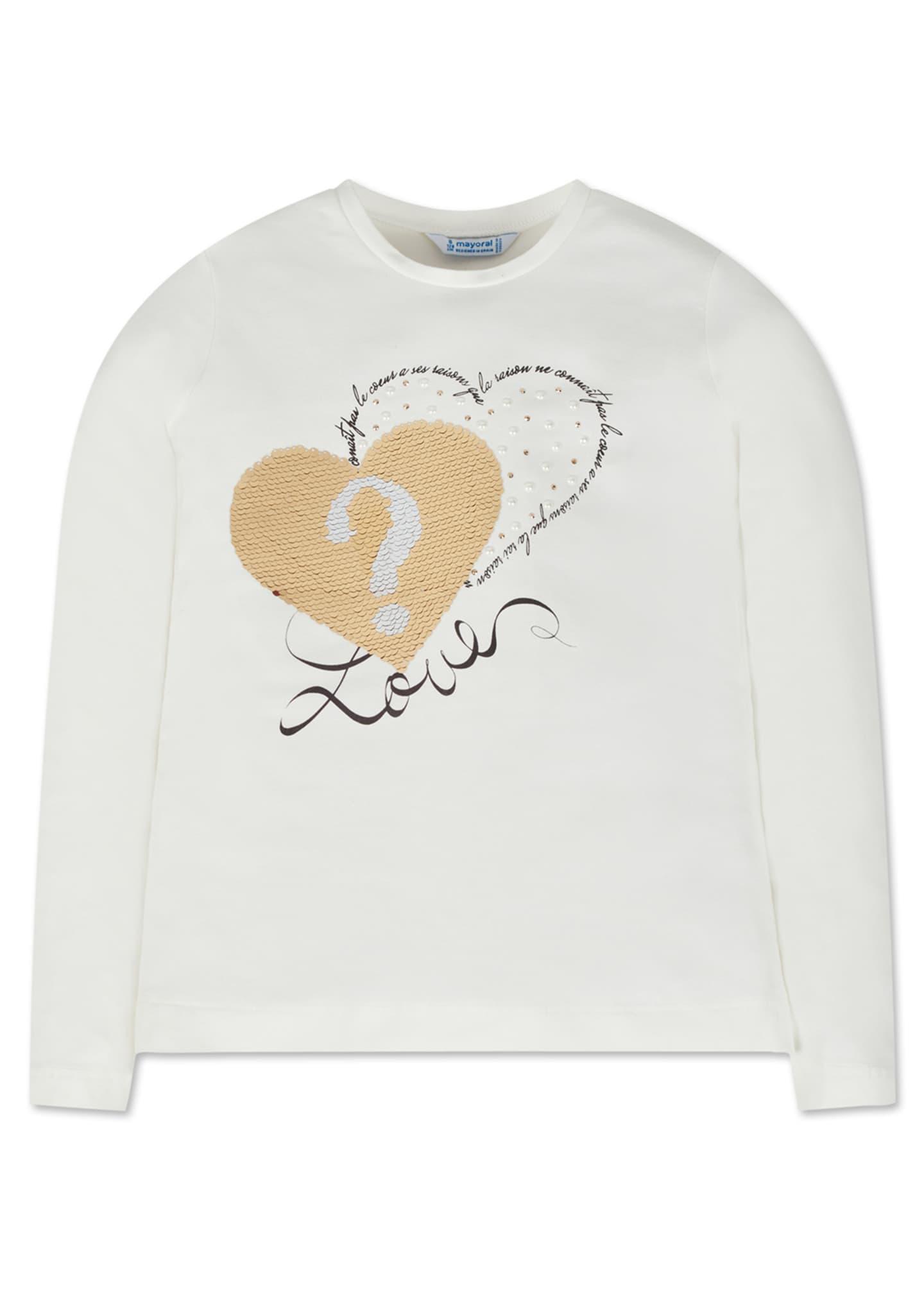 Mayoral Girl's Long-Sleeve Flip Sequin Heart Tee, Size